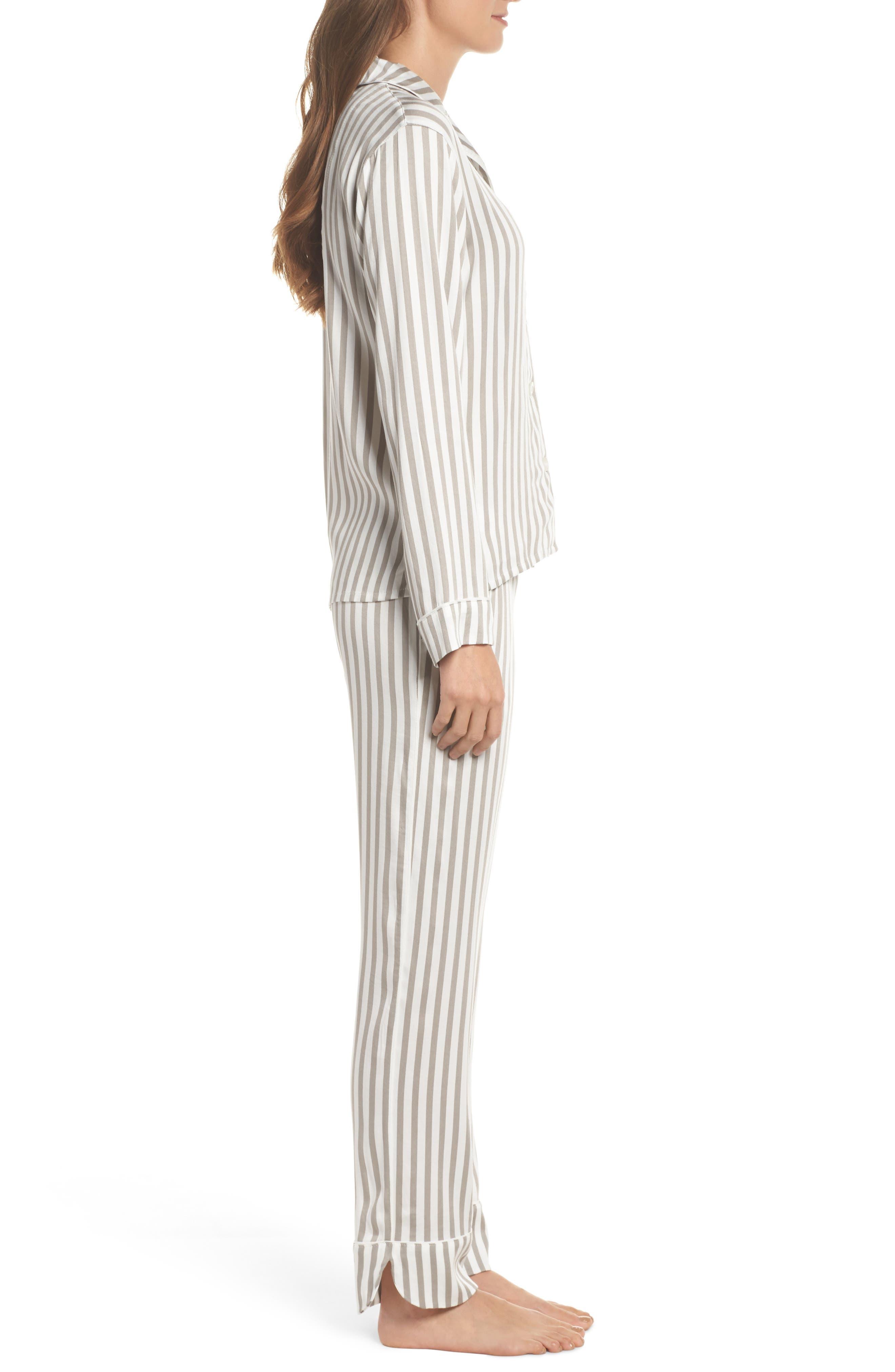 Stripe Pajamas,                             Alternate thumbnail 3, color,                             Silver