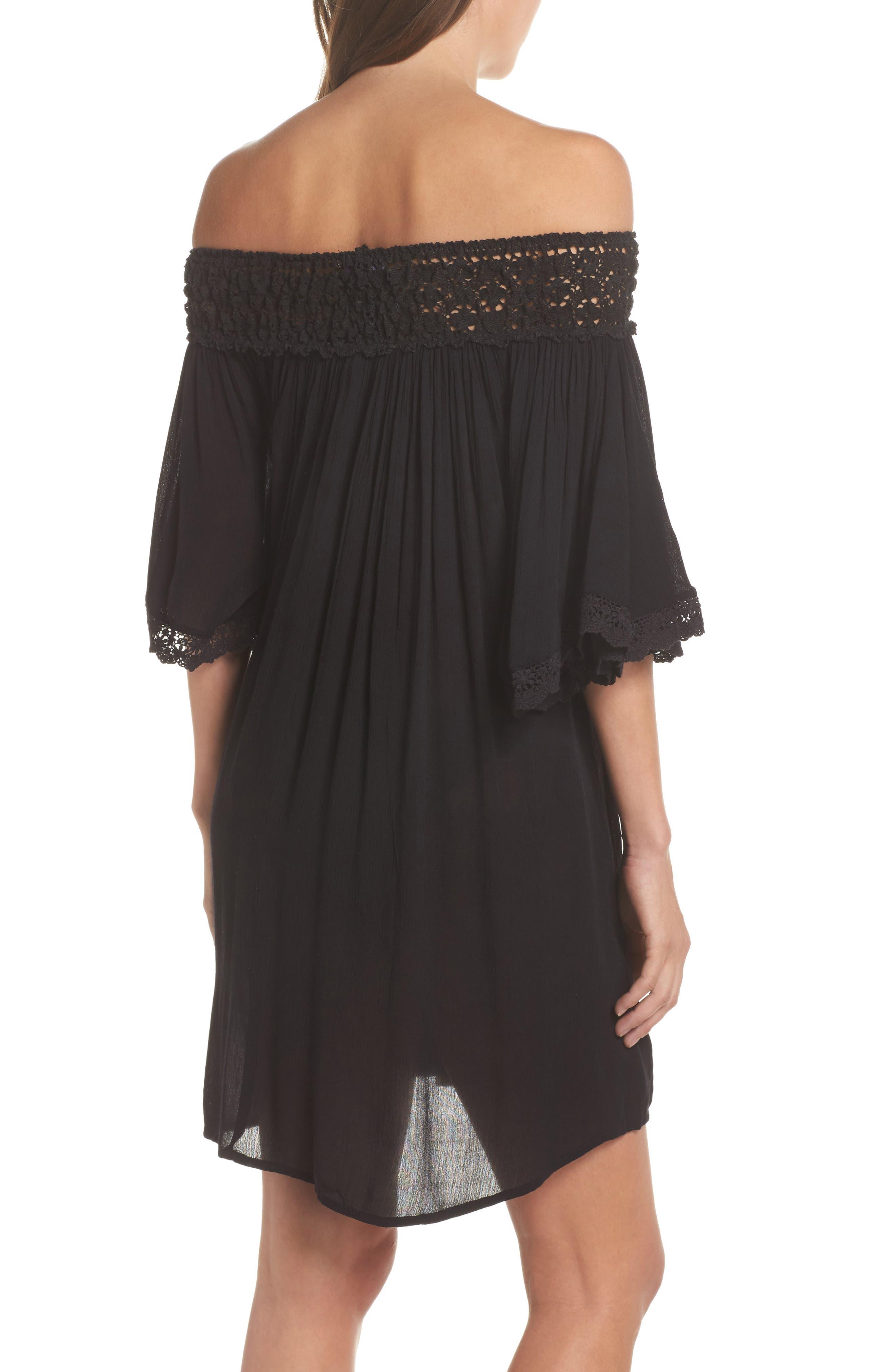 Rimini Crochet Cover-Up Dress,                             Alternate thumbnail 2, color,                             Black