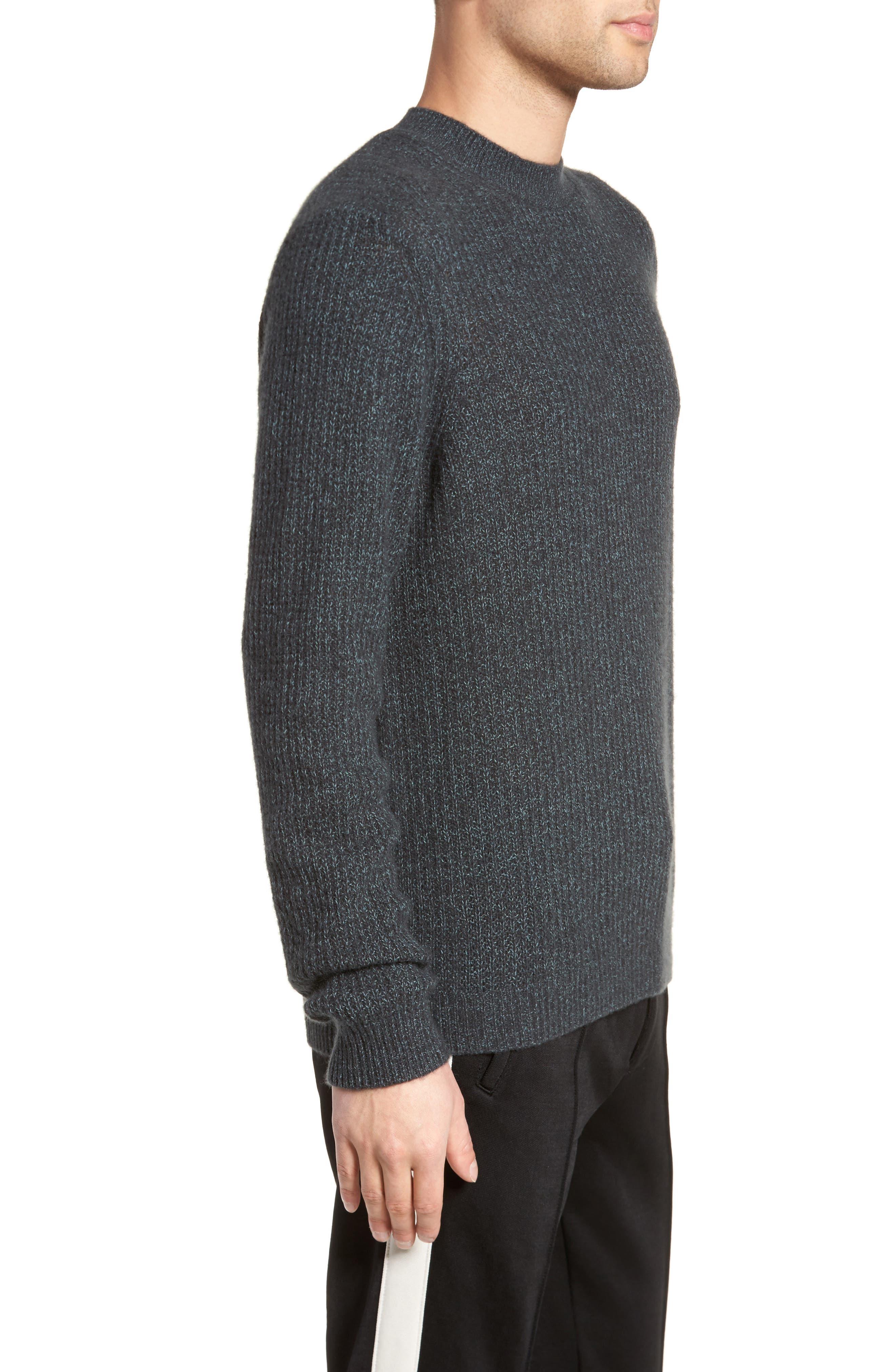 Thermal Knit Crewneck Cashmere Sweater,                             Alternate thumbnail 3, color,                             Beetle/ Mint