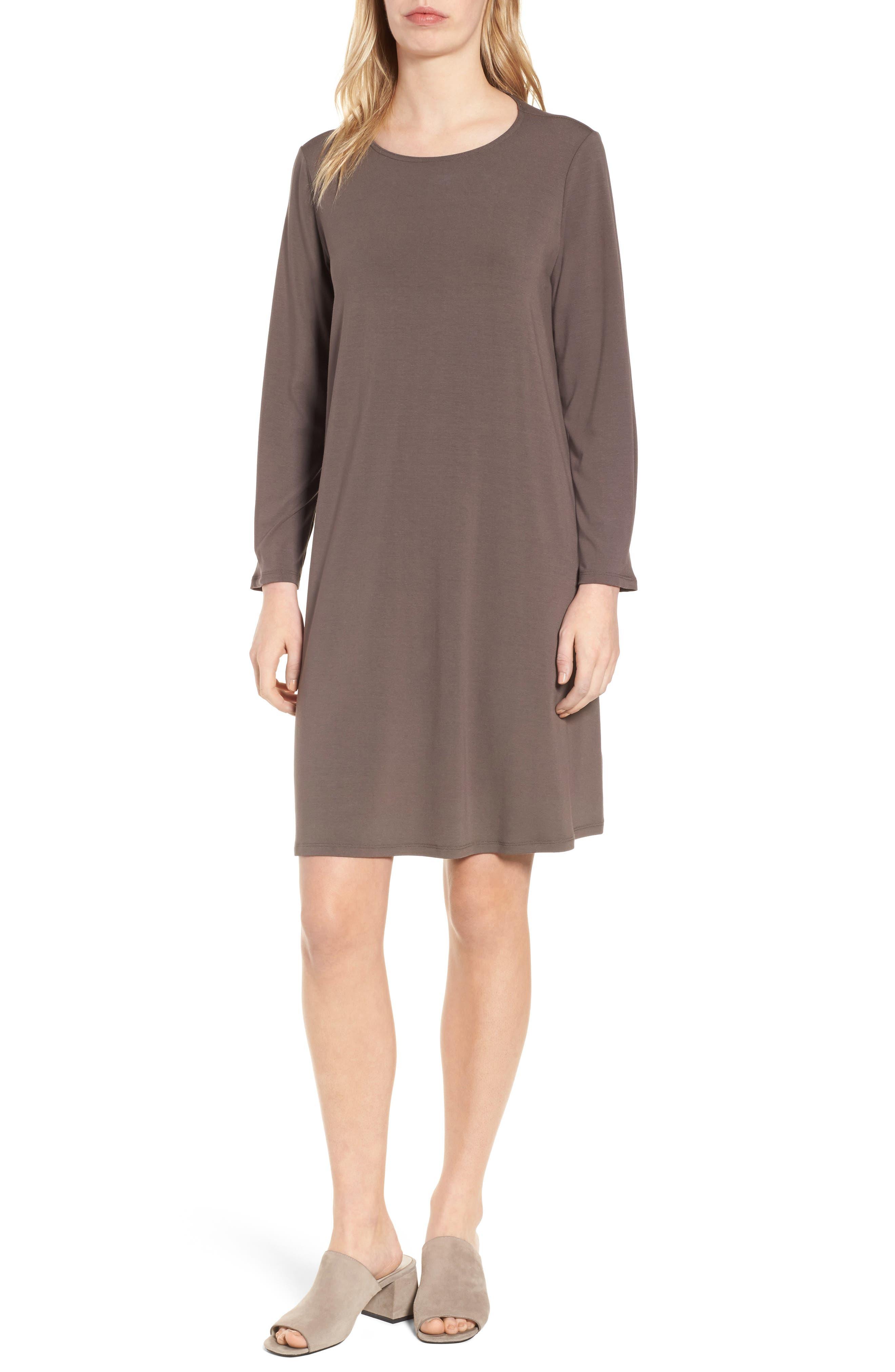 Jersey Shift Dress,                         Main,                         color, Rye