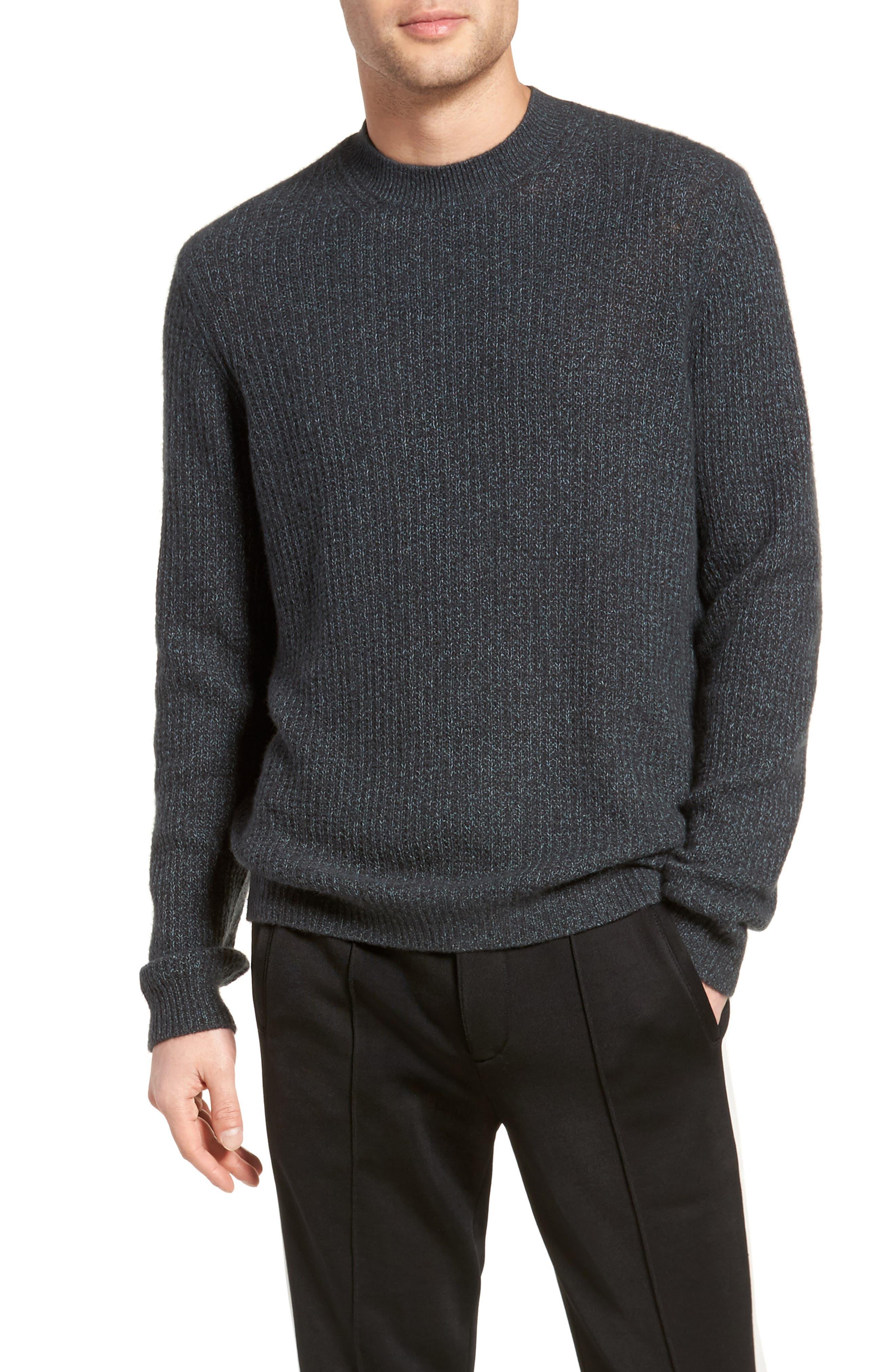 Thermal Knit Crewneck Cashmere Sweater,                             Main thumbnail 1, color,                             Beetle/ Mint
