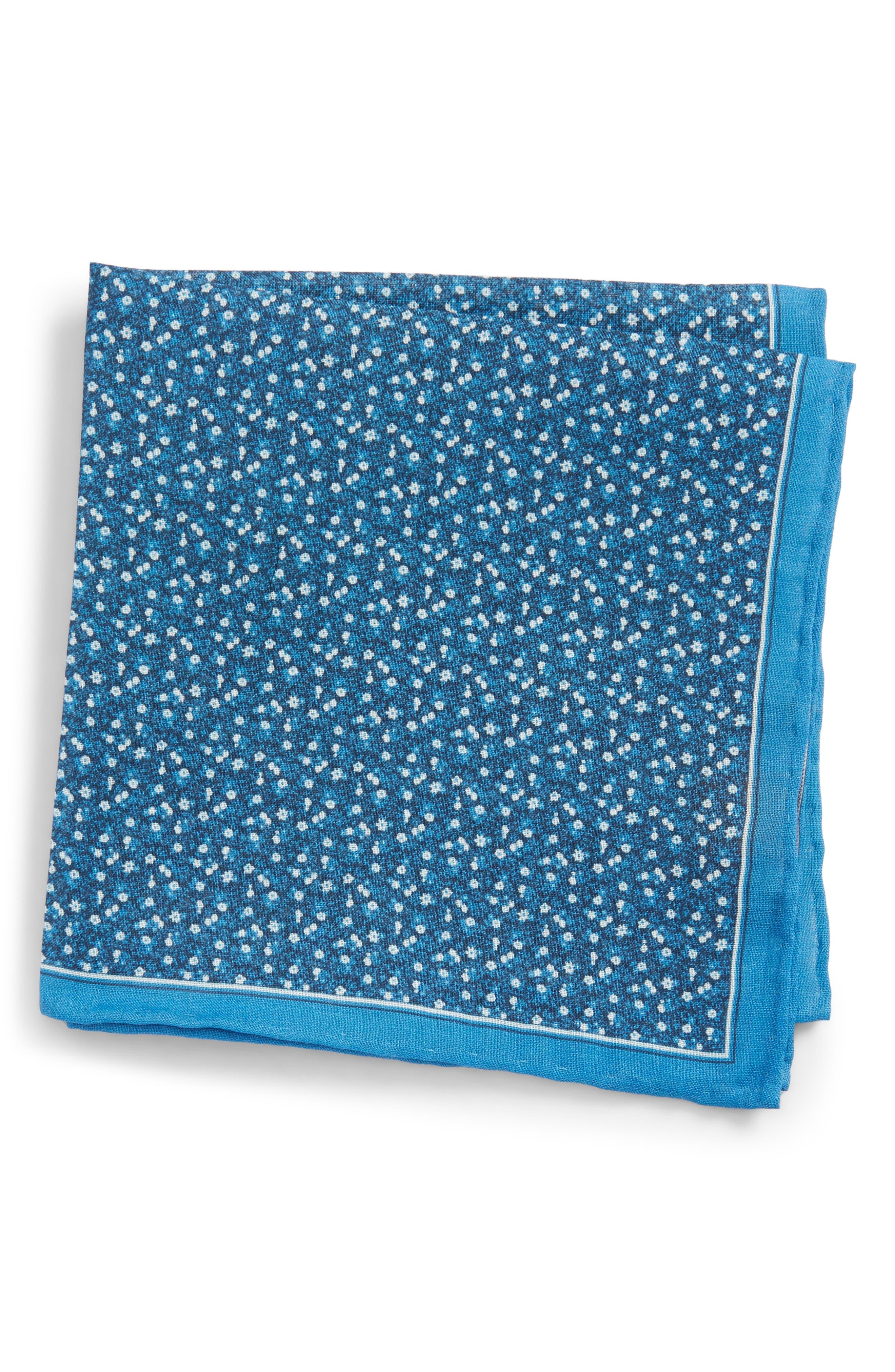 Floral Mark Linen Pocket Square,                             Main thumbnail 1, color,                             Blue