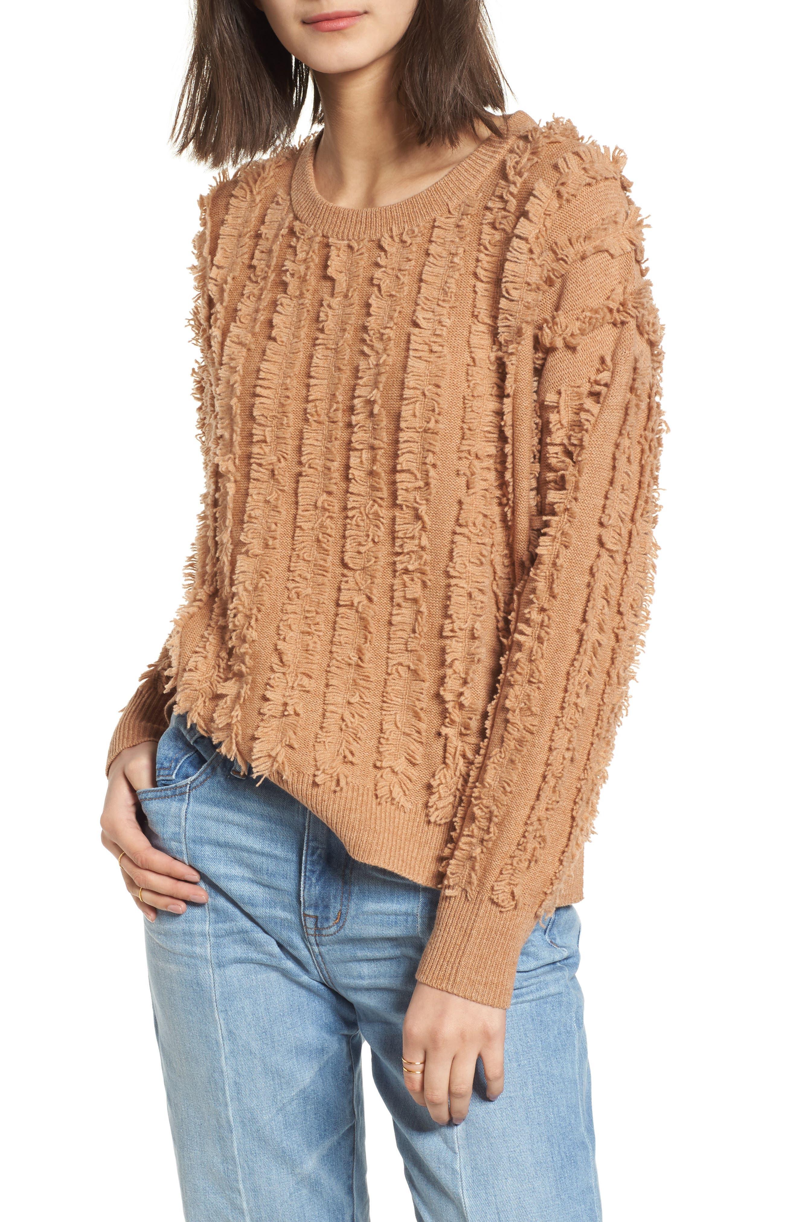 Alternate Image 1 Selected - Madewell Fringe Stripe Pullover Sweater