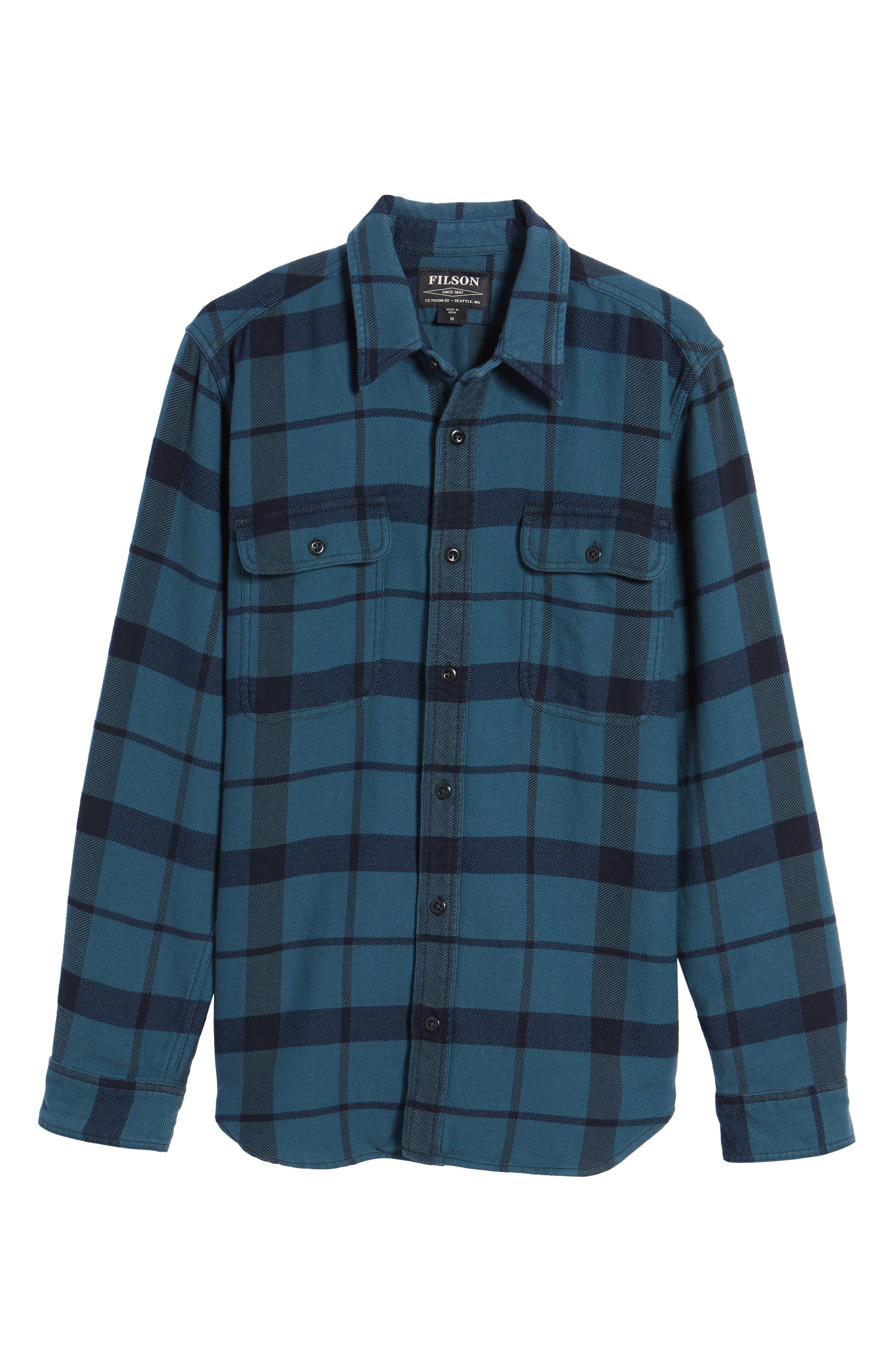 'Vintage Flannel' Regular Fit Plaid Cotton Shirt,                             Alternate thumbnail 11, color,                             Brown/ Navy