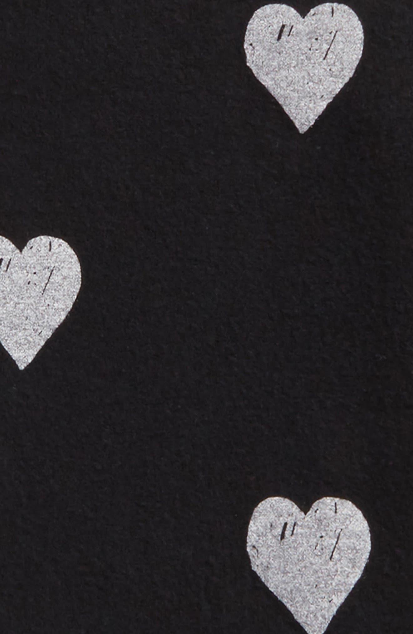 Heart Print Sweatshirt,                             Alternate thumbnail 2, color,                             Black