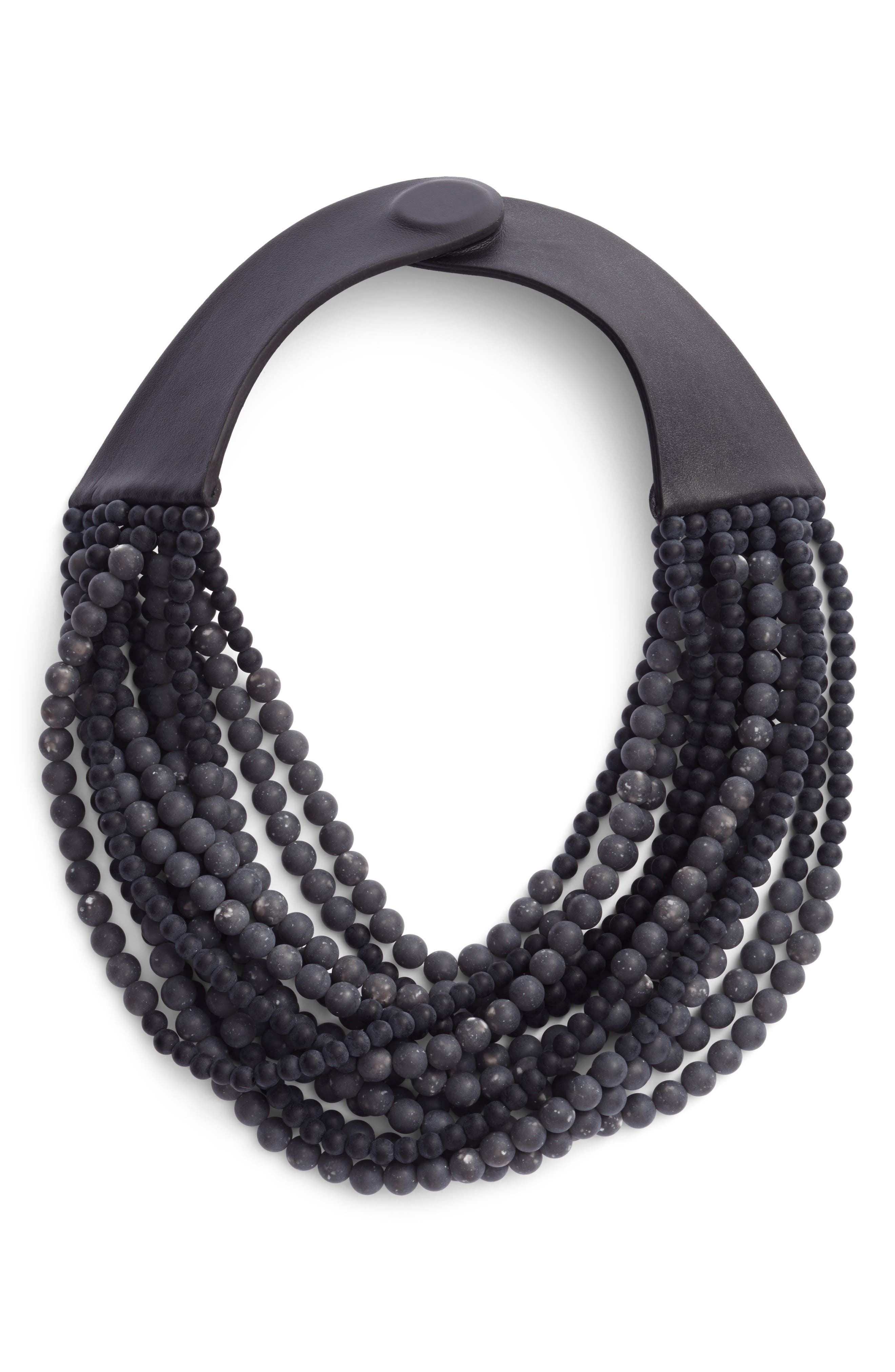 Beaded Collar Necklace,                             Main thumbnail 1, color,                             Stone Anthracite