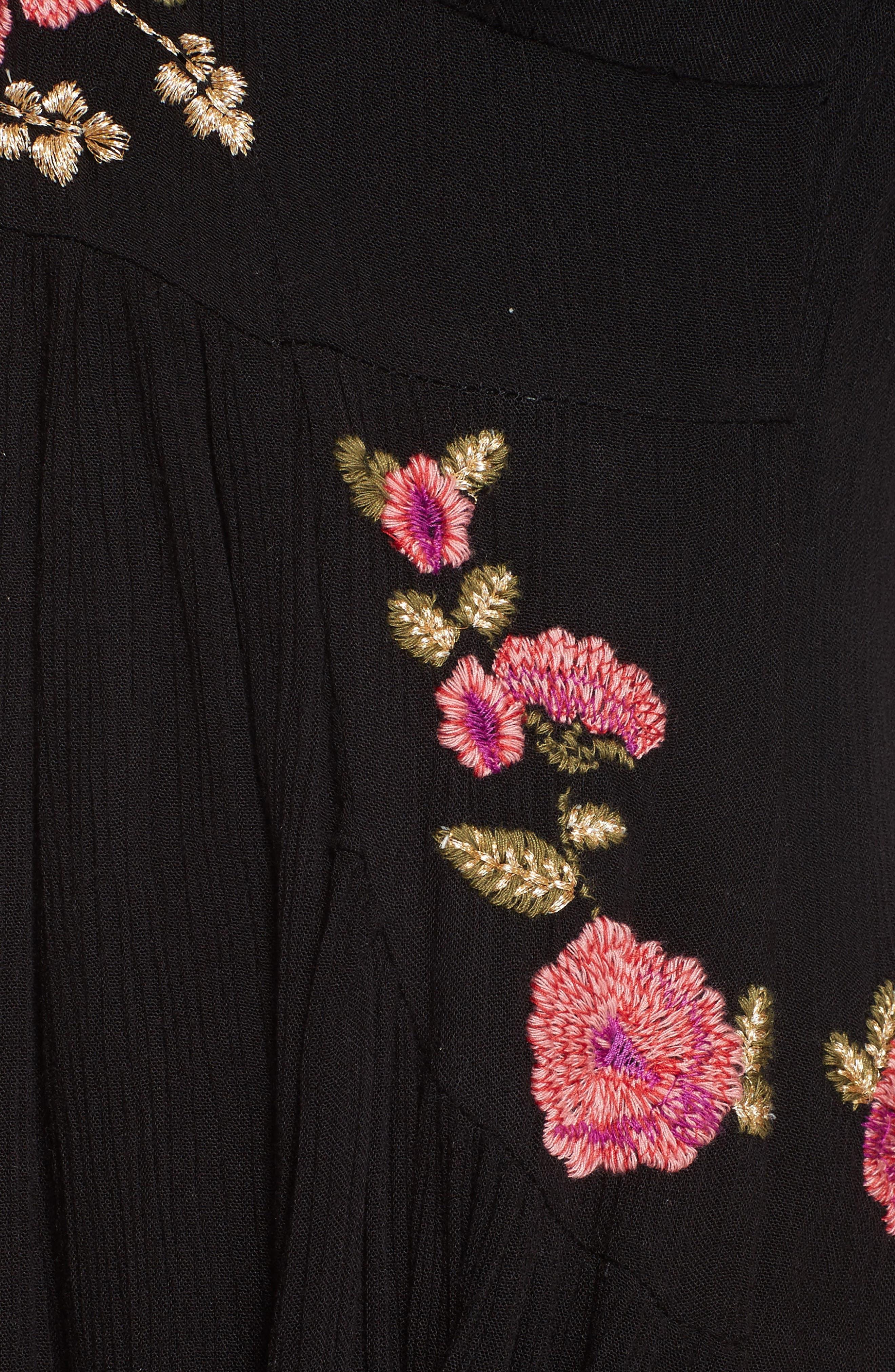 Day Glow Midi Dress,                             Alternate thumbnail 5, color,                             Black Combo
