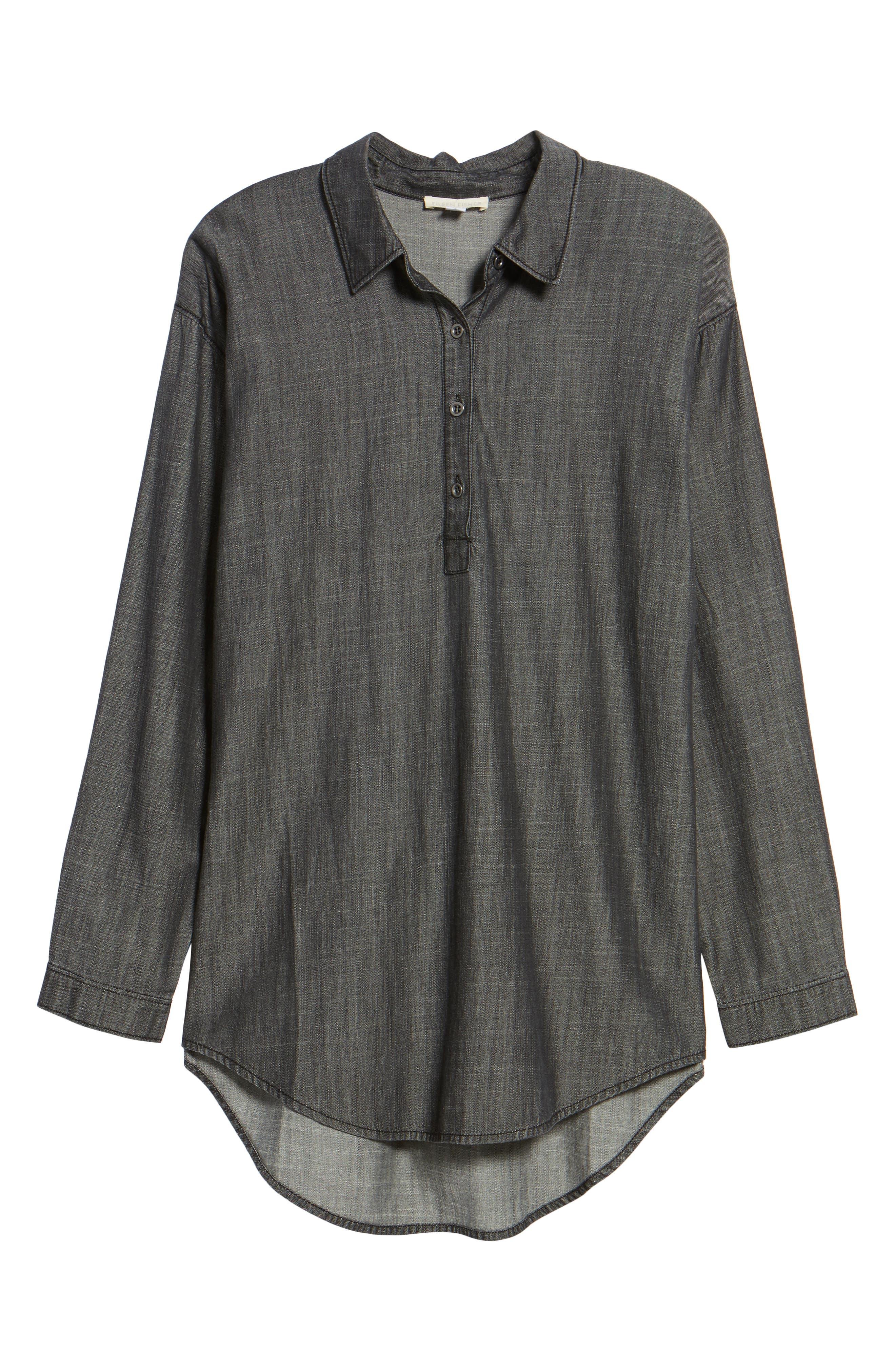 Tencel<sup>®</sup> Lyocell & Organic Cotton Tunic Shirt,                             Alternate thumbnail 6, color,                             Black