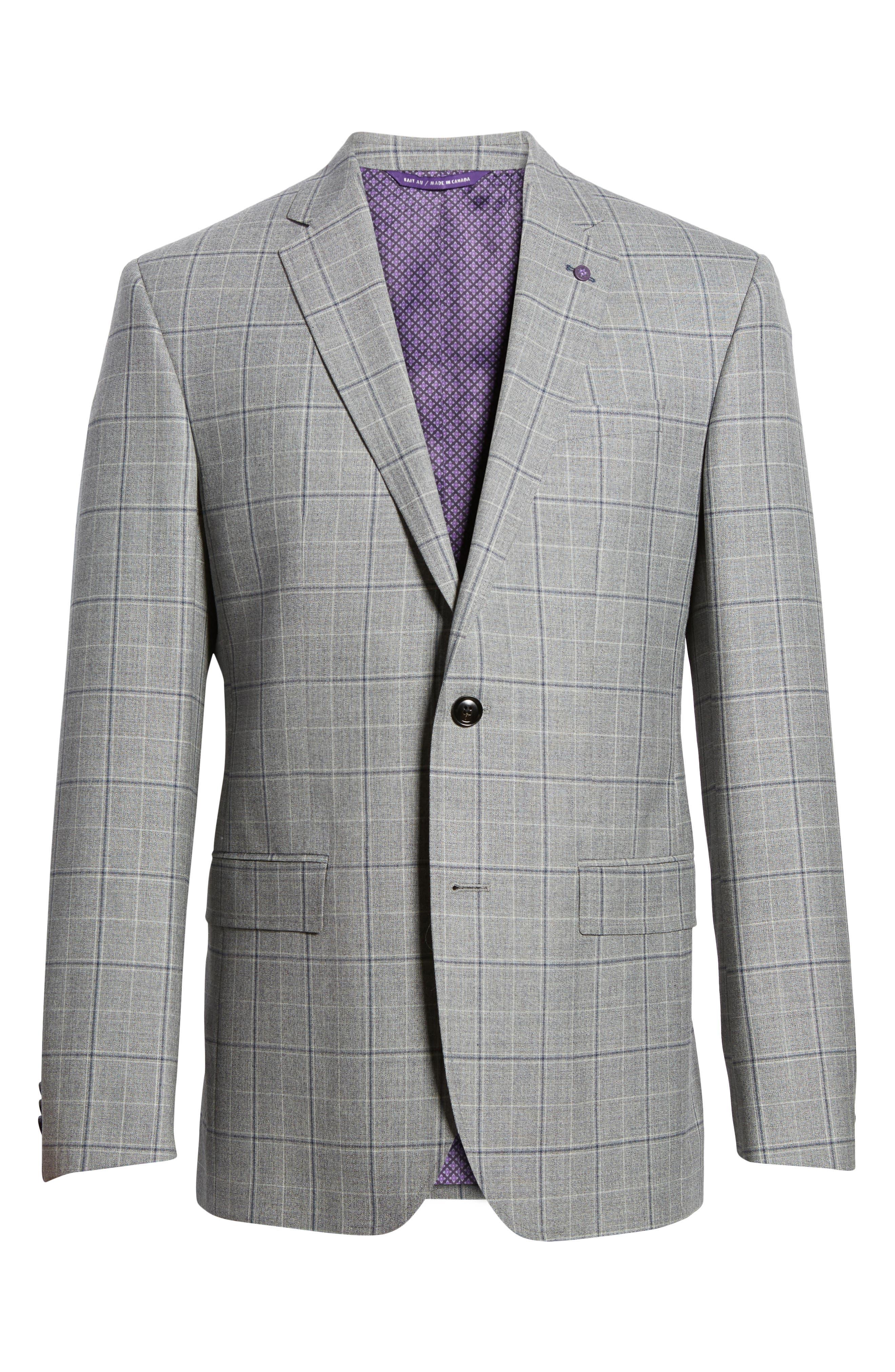 Jay Trim Fit Plaid Wool Sport Coat,                             Alternate thumbnail 6, color,                             Light Grey