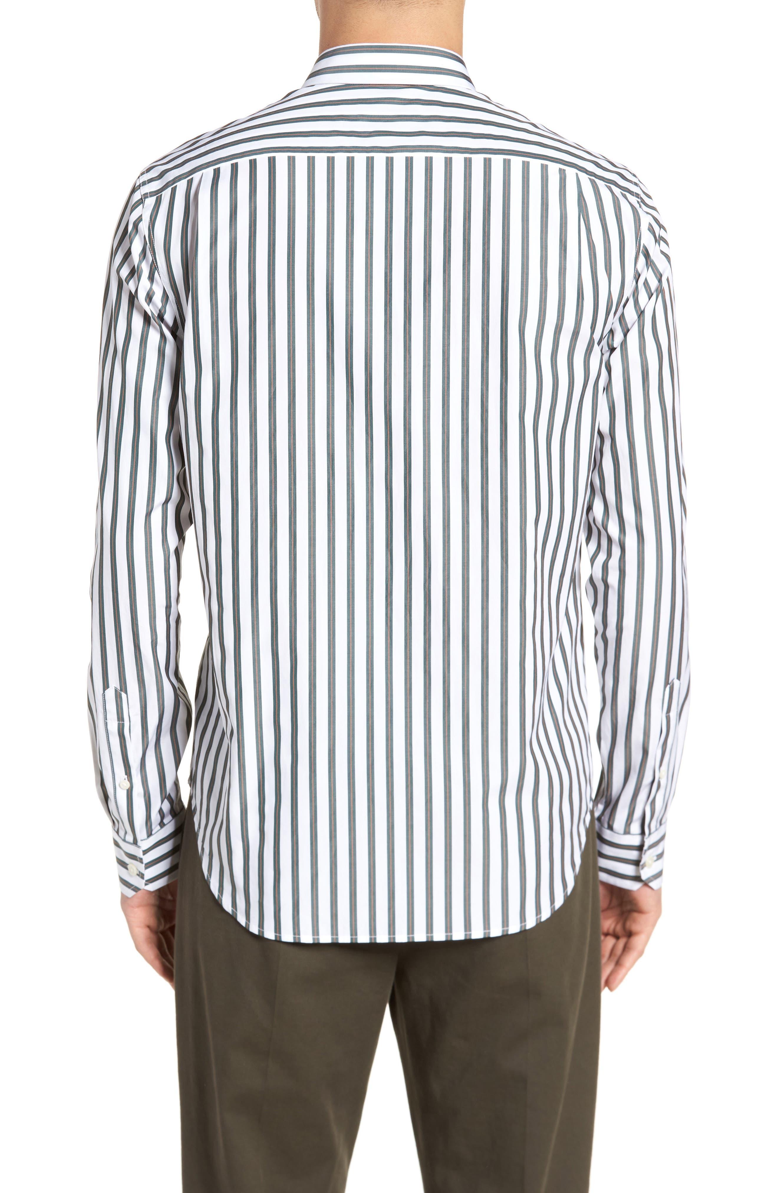 Stripe Sport Shirt,                             Alternate thumbnail 2, color,                             White/ Pine Grove