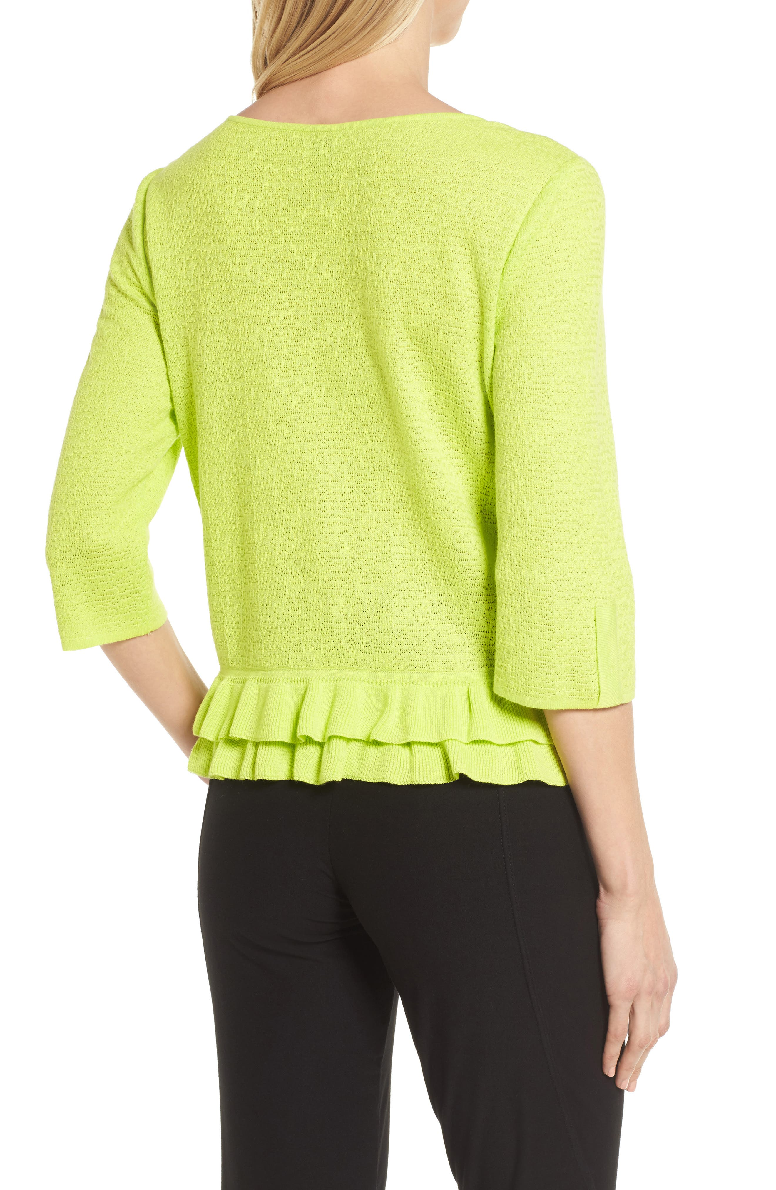 Button Detail Ruffle Sweater,                             Alternate thumbnail 2, color,                             Pear