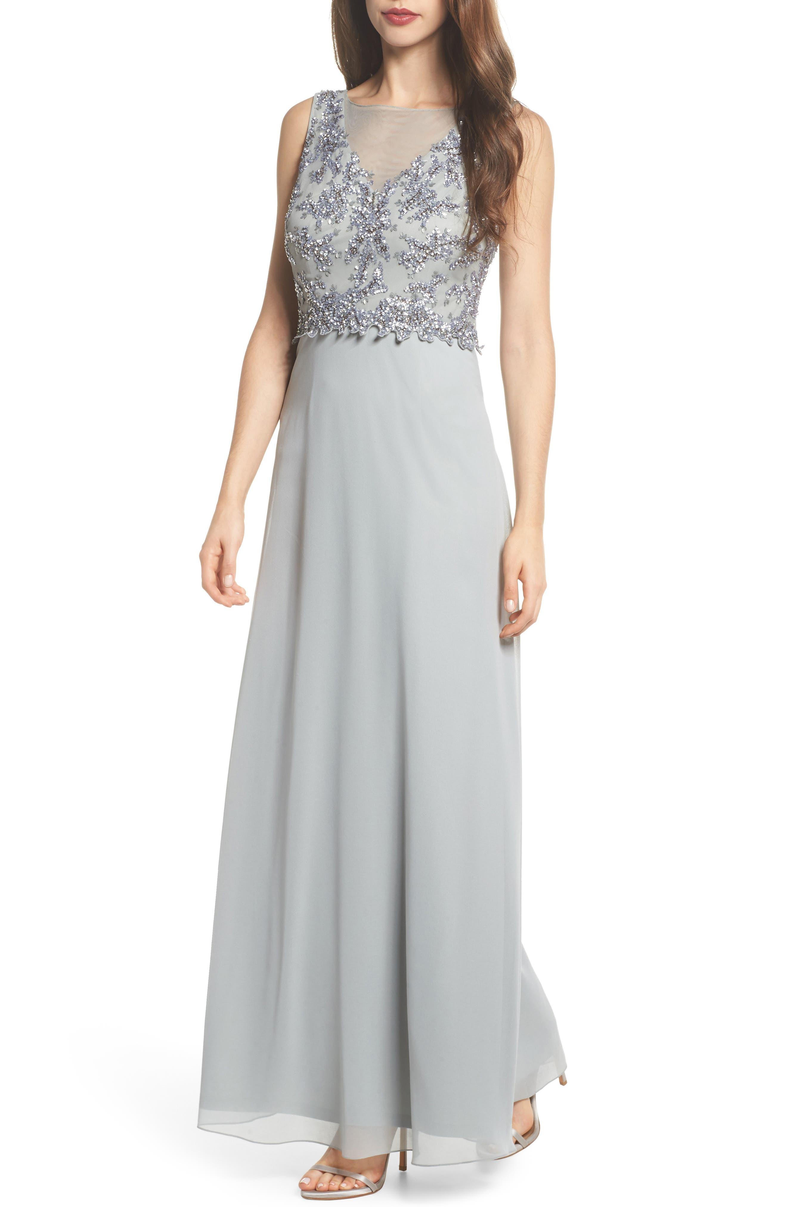 Embellished Mesh Bodice Gown,                         Main,                         color, Blue Mist
