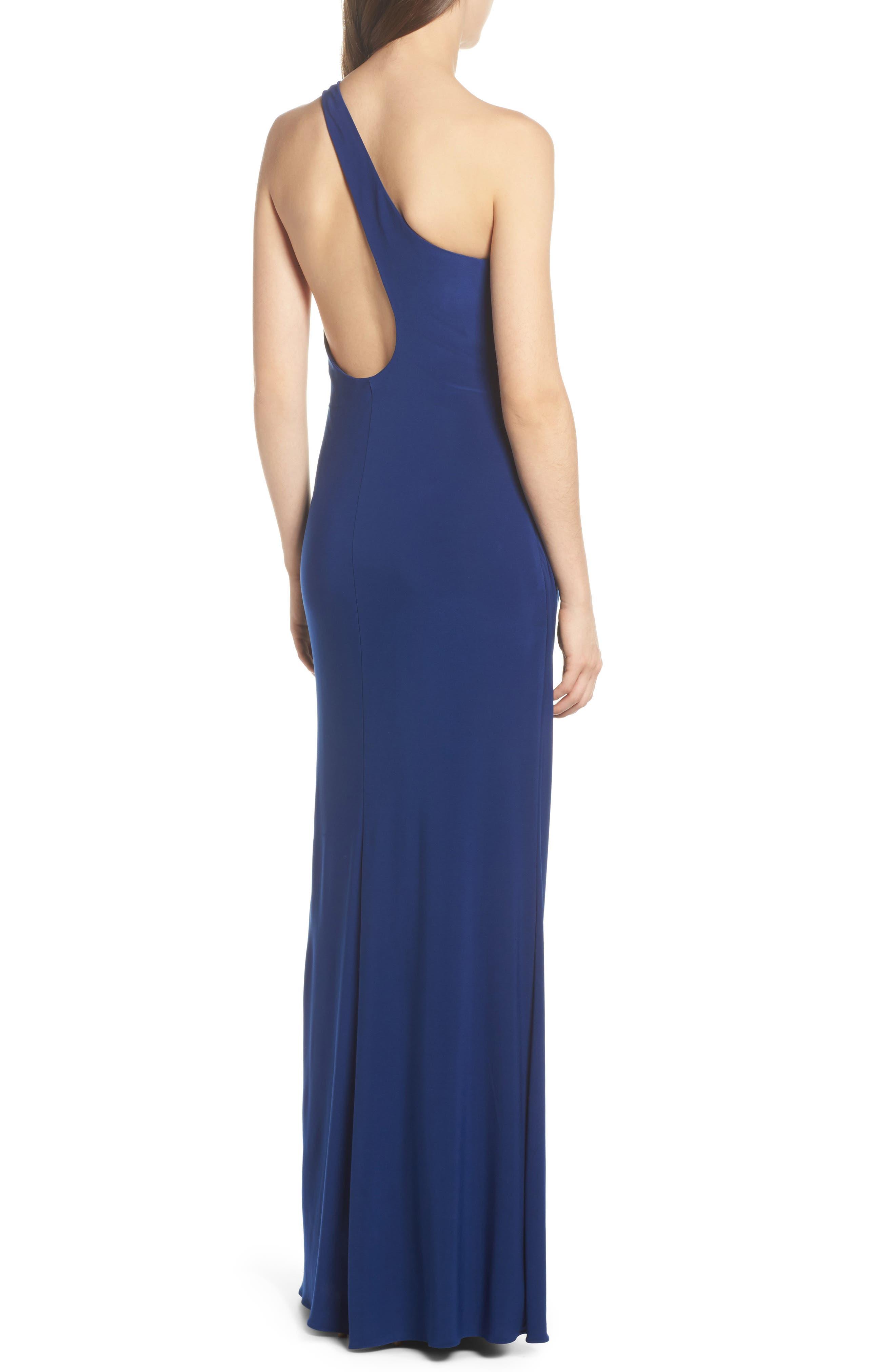 One-Shoulder Ruched Jersey Gown,                             Alternate thumbnail 2, color,                             Blue Violet