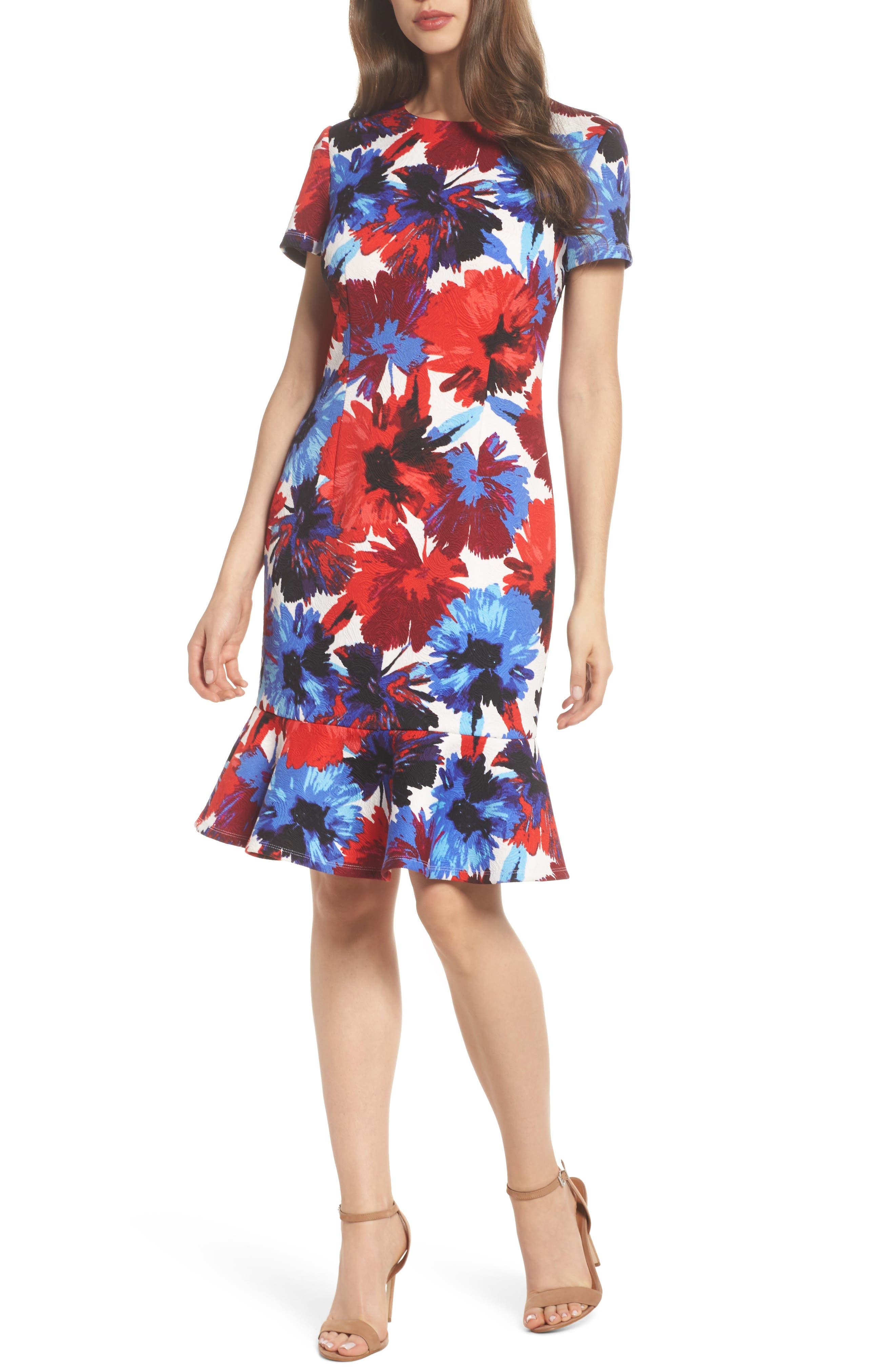 Flounce Dress,                         Main,                         color, White/ Red