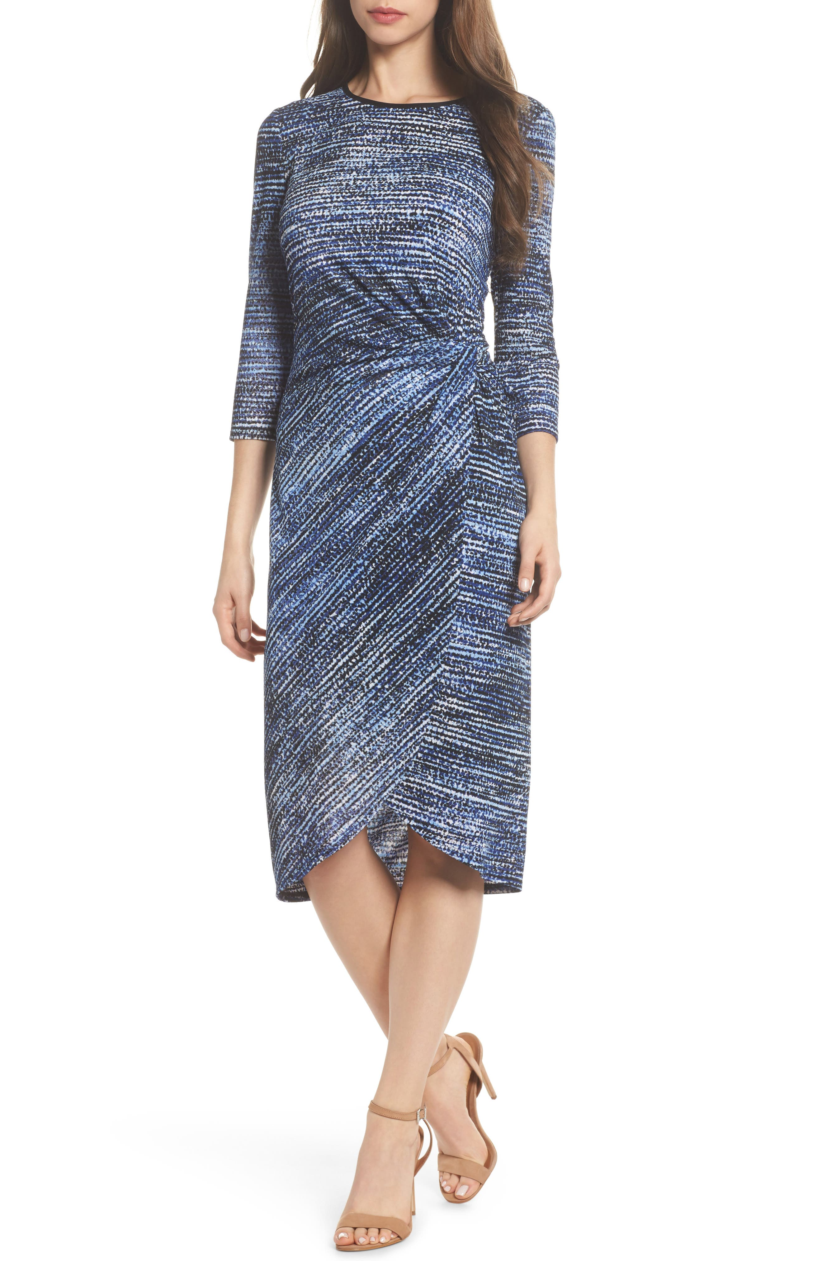 French Crepe Side Ruche Sheath Dress,                         Main,                         color, Soft White/ Royal