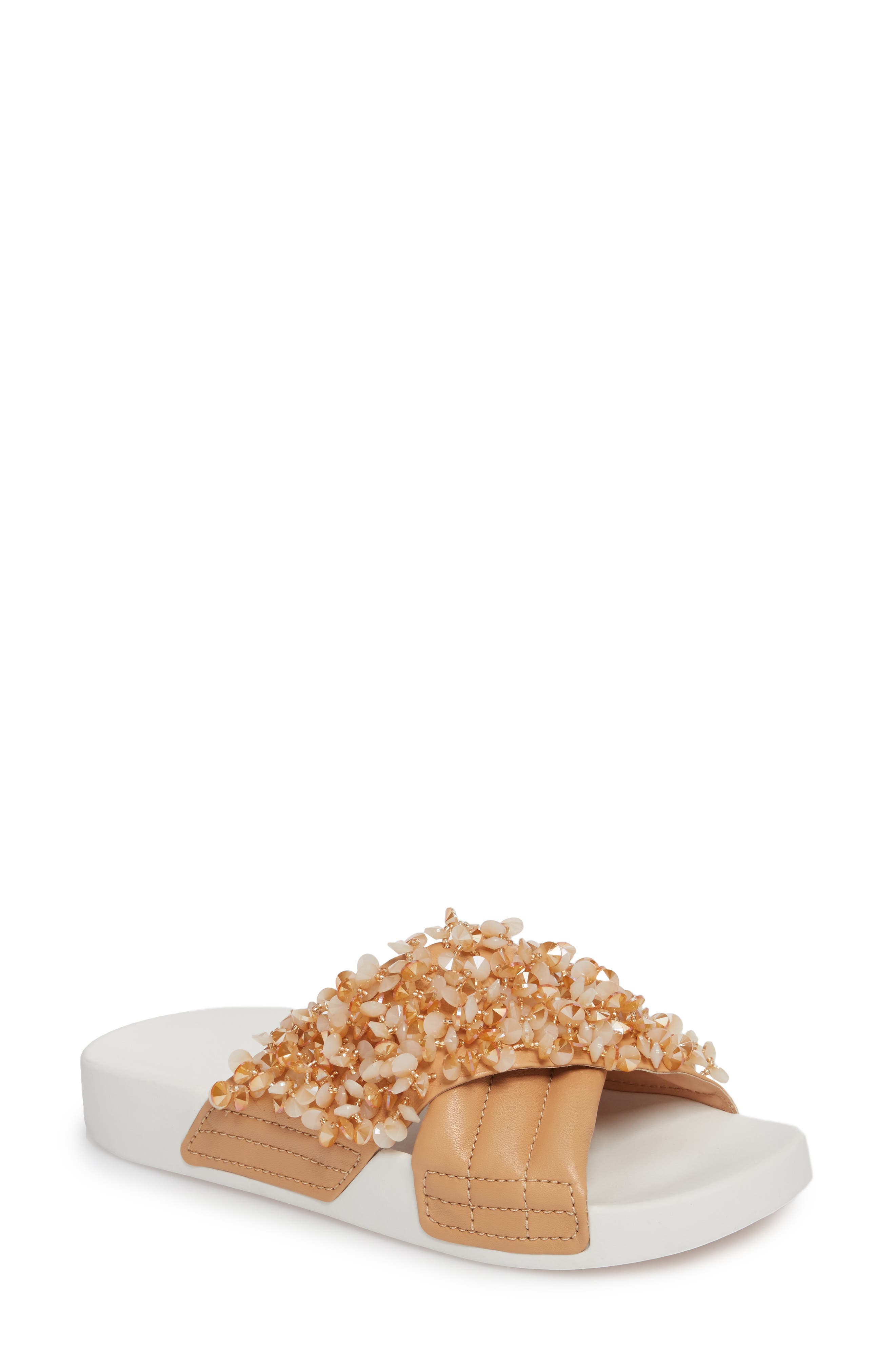 Logan Embellished Slide Sandal,                             Main thumbnail 1, color,                             Natural Vachetta/ Cassia