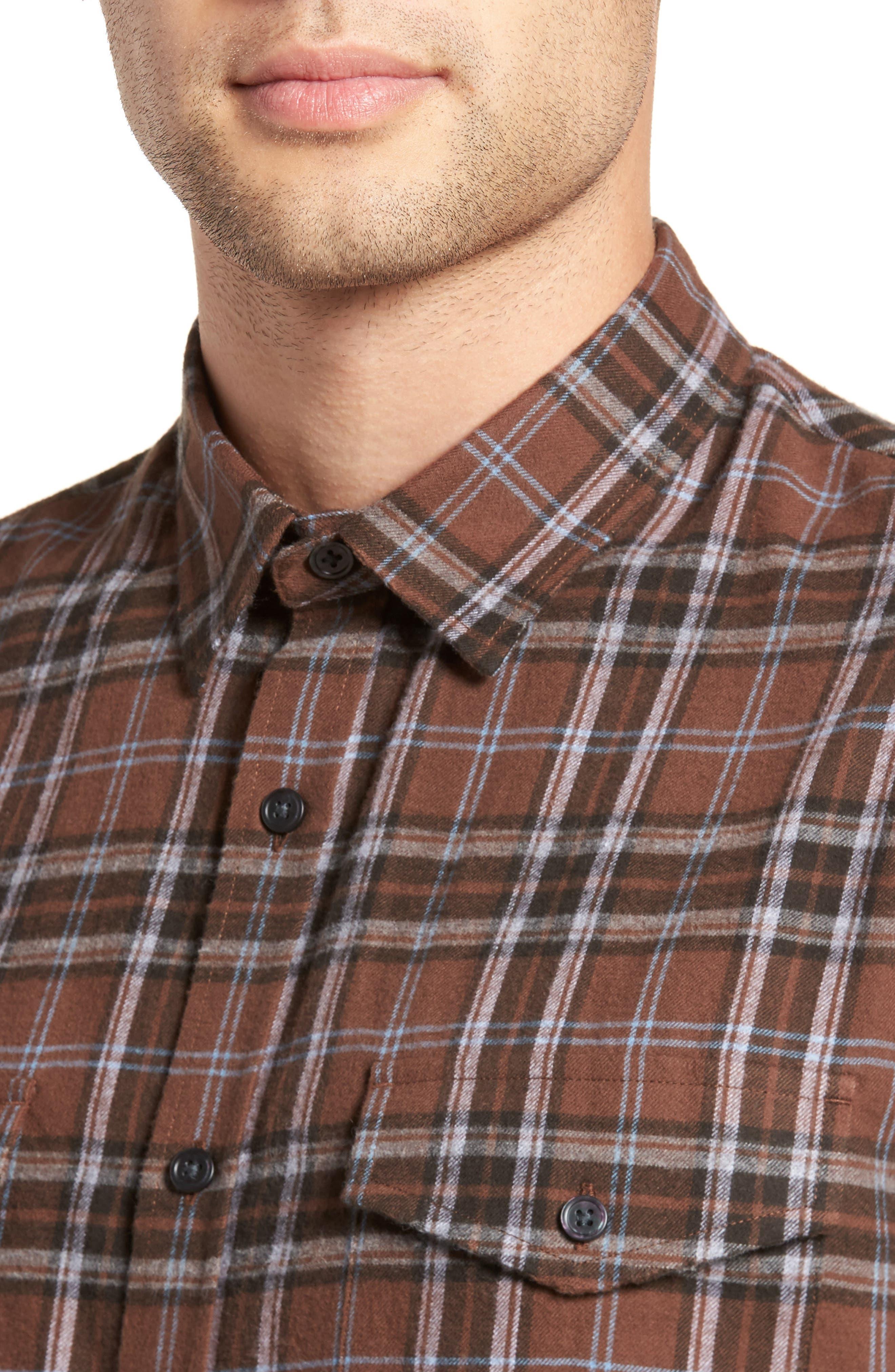 Regular Fit Plaid Sport Shirt,                             Alternate thumbnail 4, color,                             Dark Henna