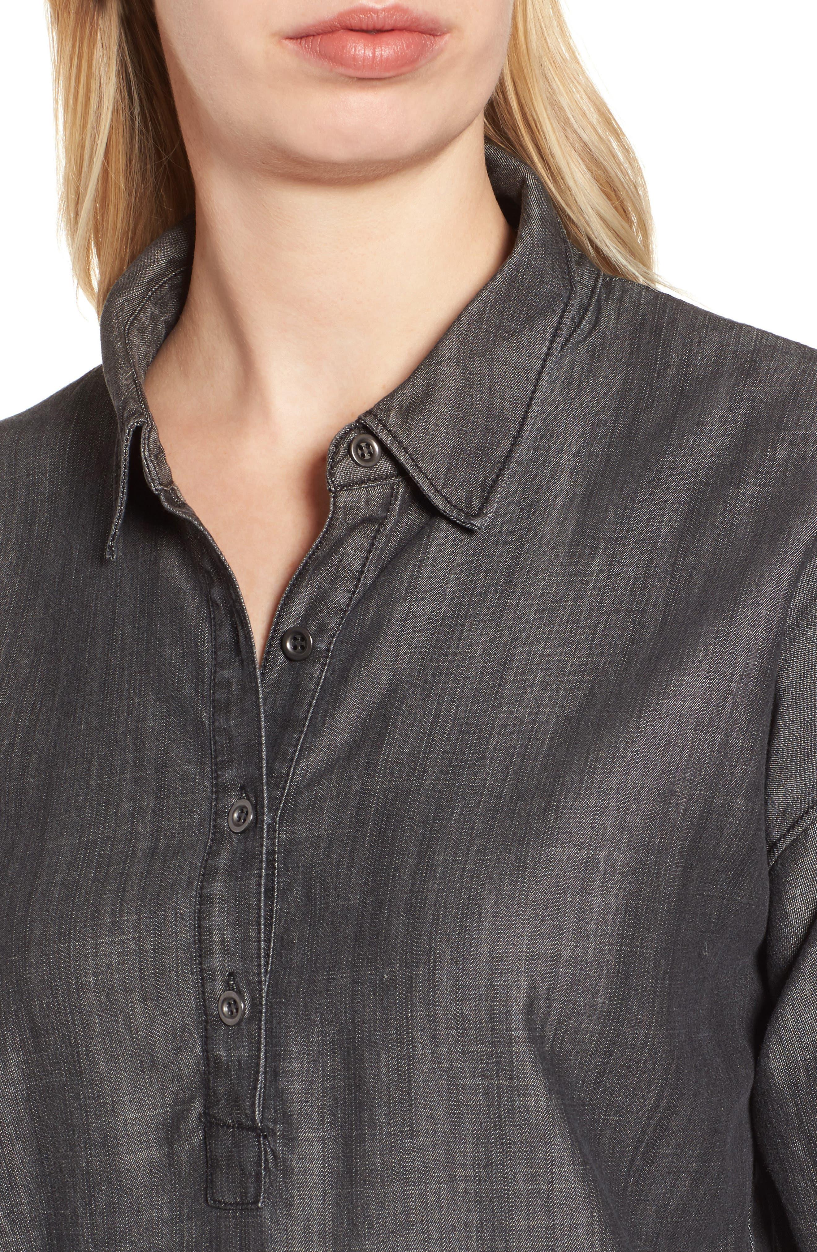 Tencel<sup>®</sup> Lyocell & Organic Cotton Tunic Shirt,                             Alternate thumbnail 4, color,                             Black