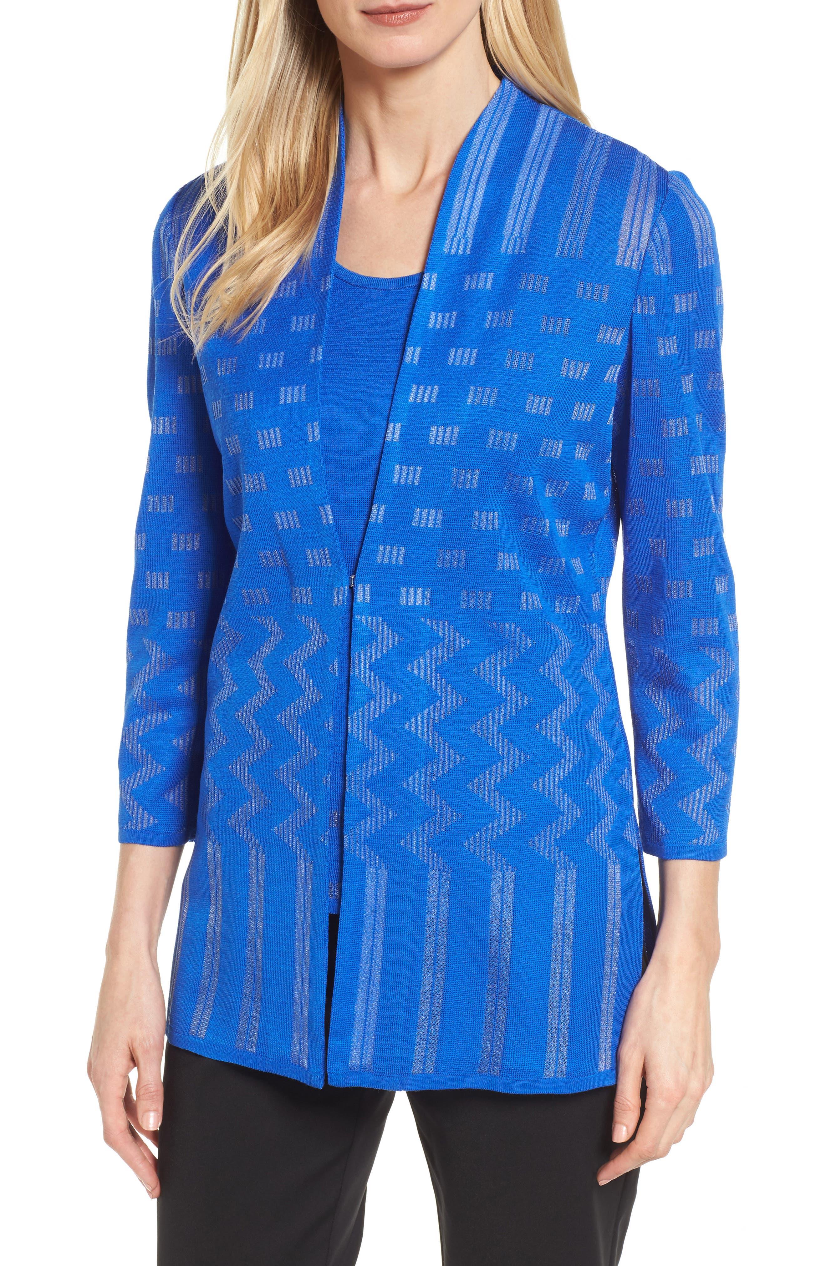 Multi Pattern Long Jacket,                         Main,                         color, Patriot Blue