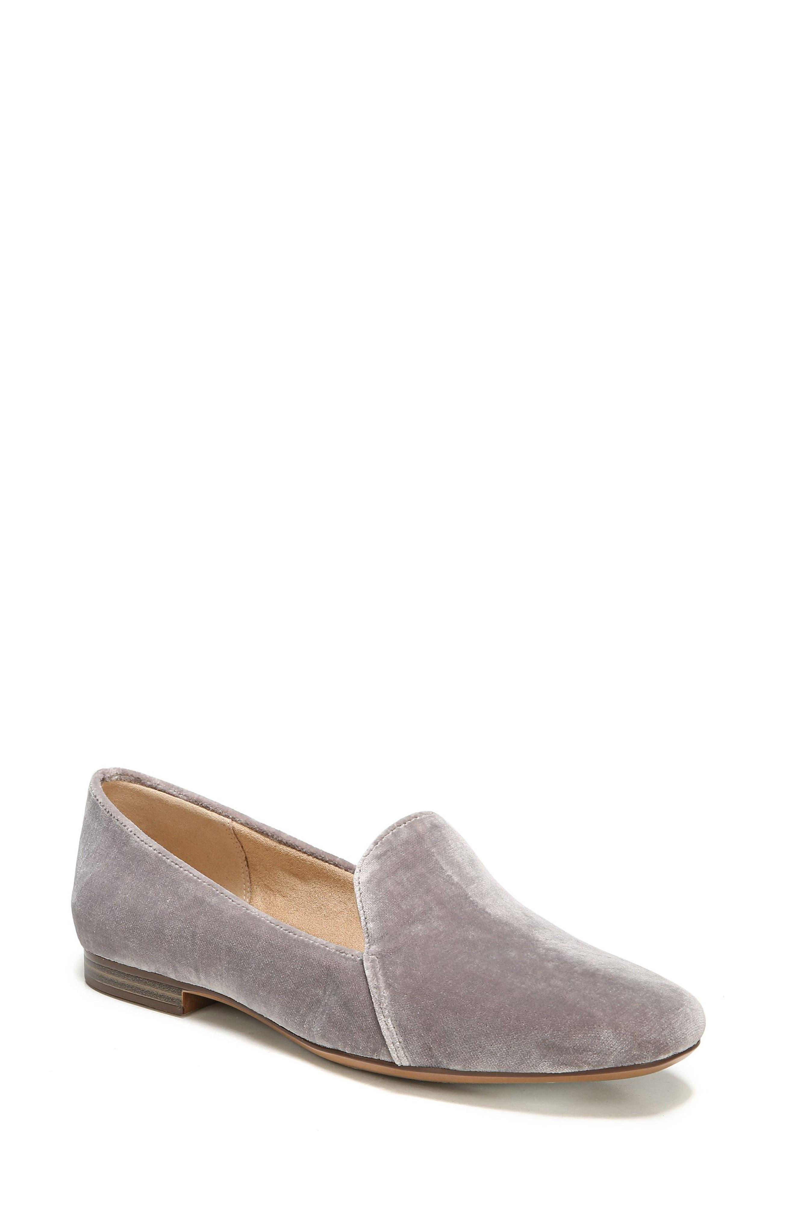 Emiline Flat Loafer,                             Main thumbnail 1, color,                             Taupe Velvet Fabric