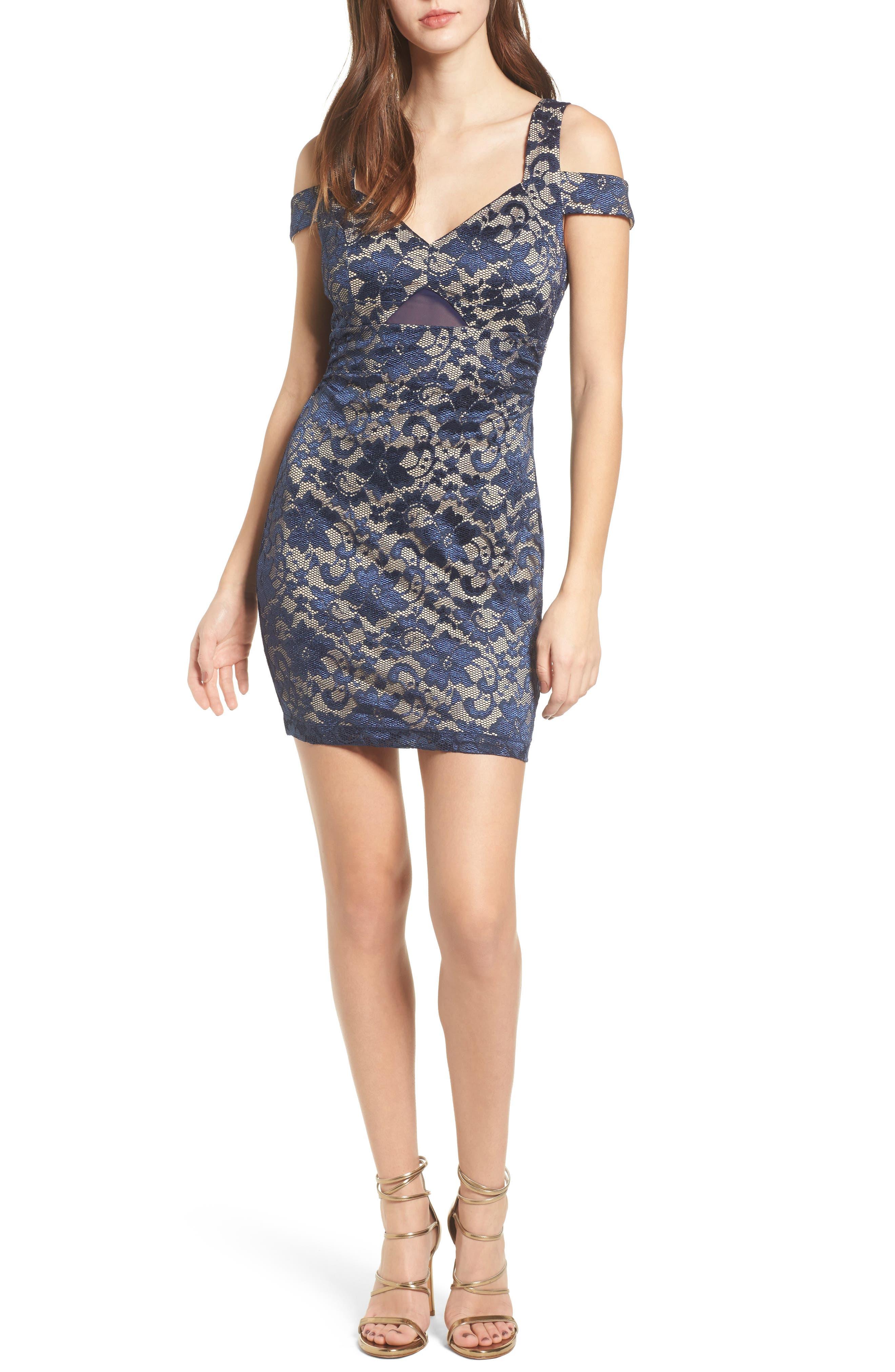 Lace Cold Shoulder Body-Con Dress,                         Main,                         color, Navy/ Nude