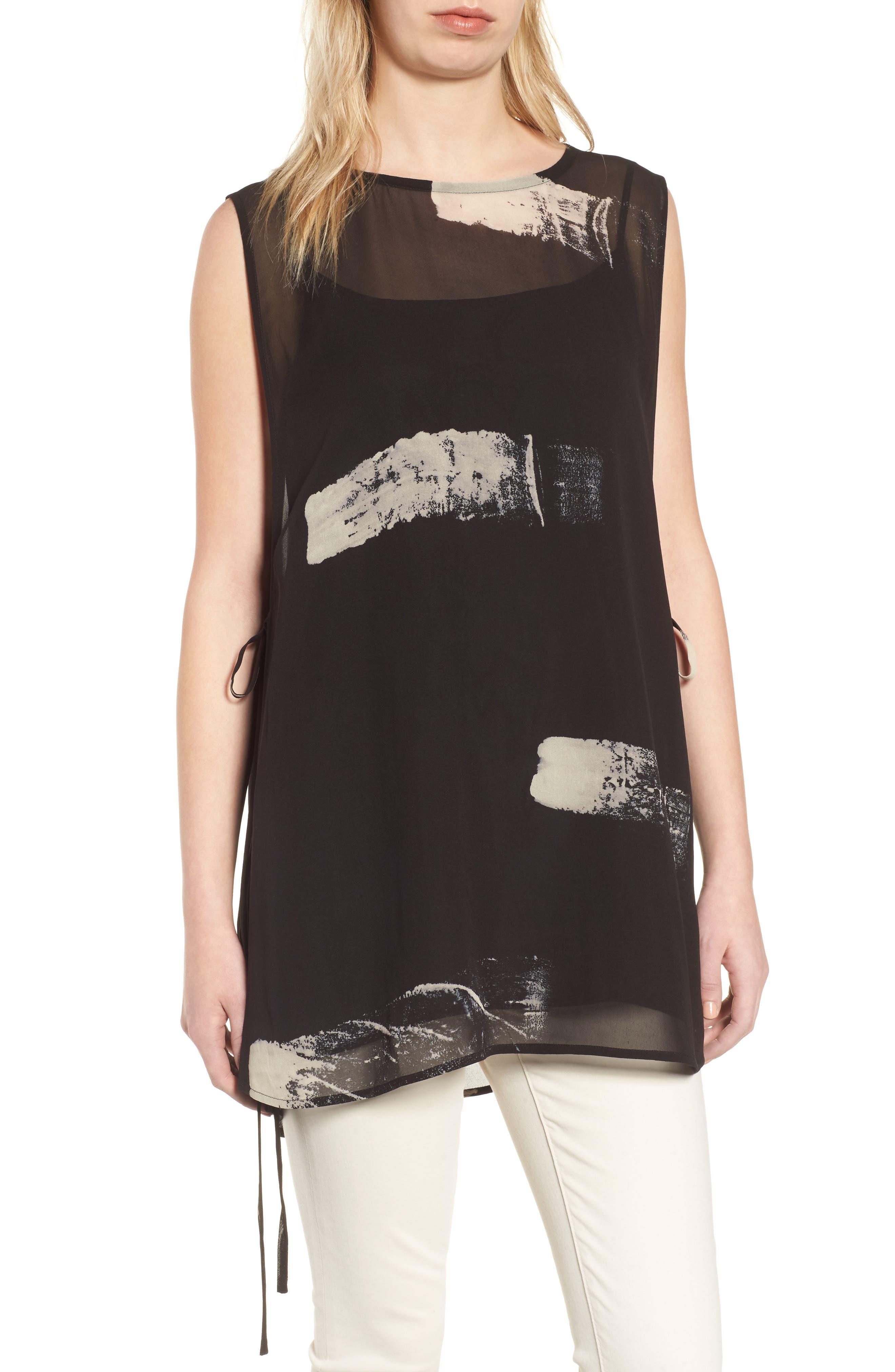Overlay Silk Top,                         Main,                         color, Black