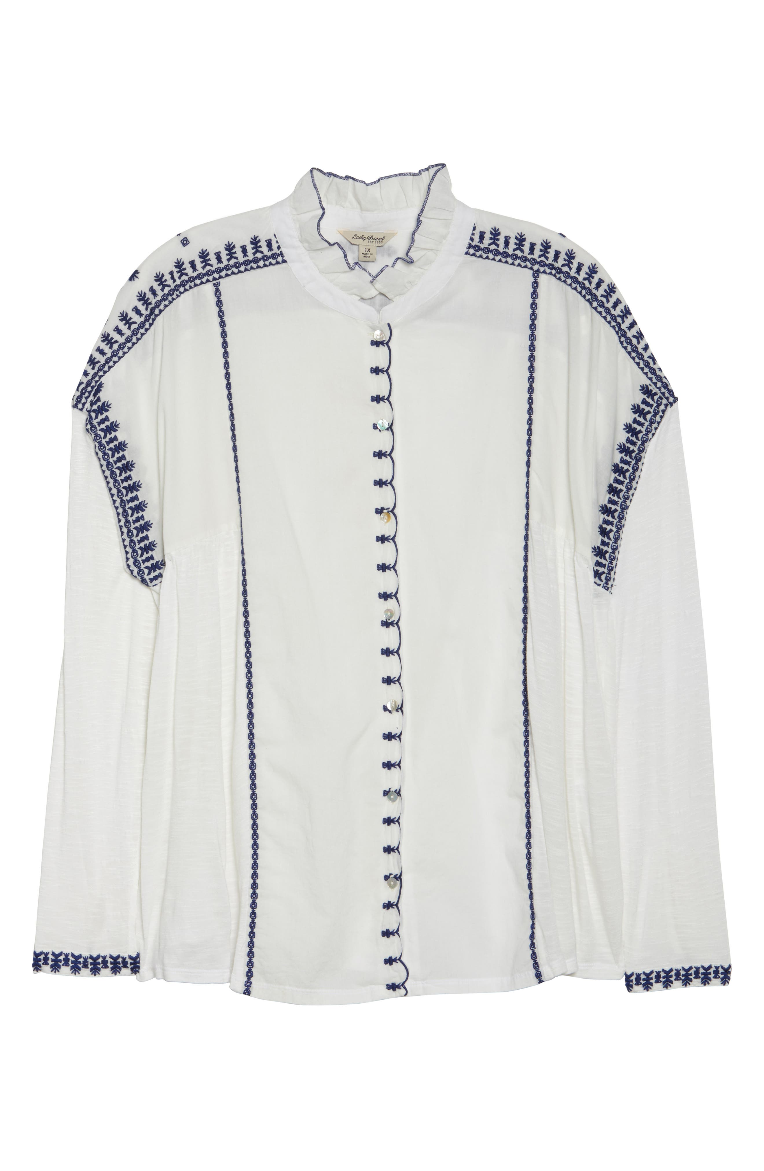 Alternate Image 6  - Lucky Brand Embroidered Mixed Media Top (Plus Size)