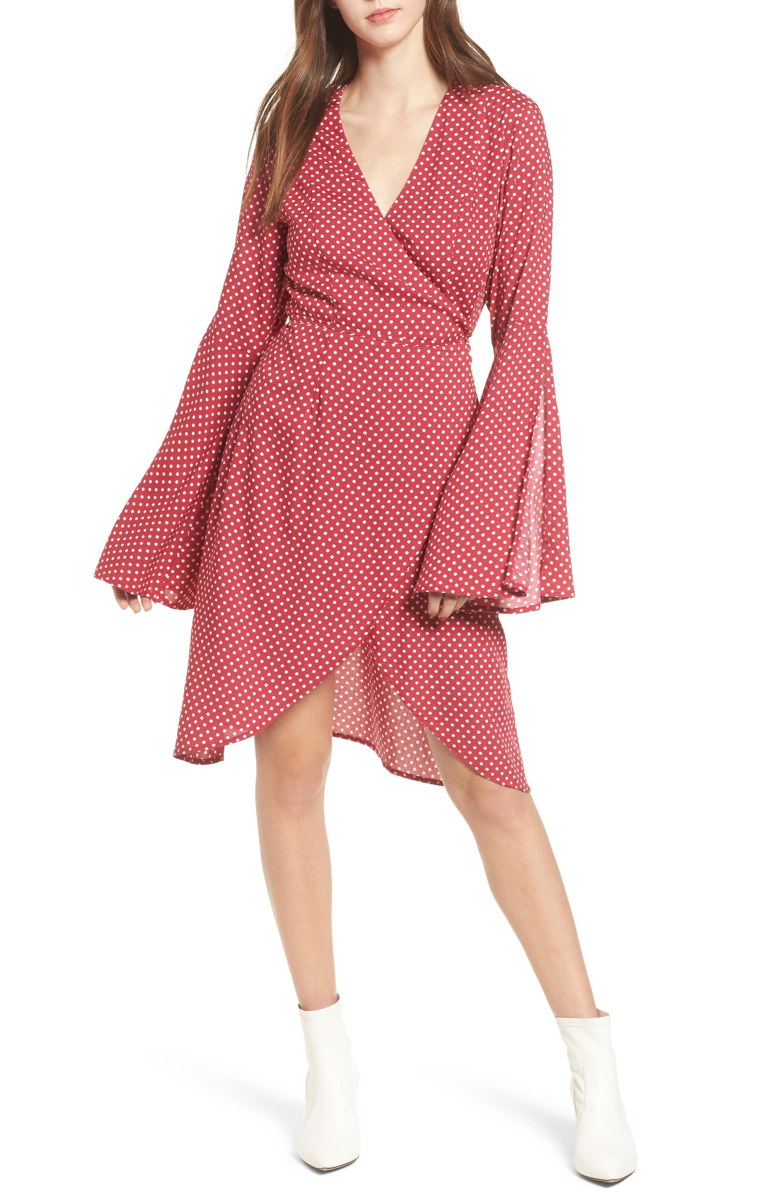 Fearless Polka Dot Wrap Dress,                         Main,                         color, Multi Red