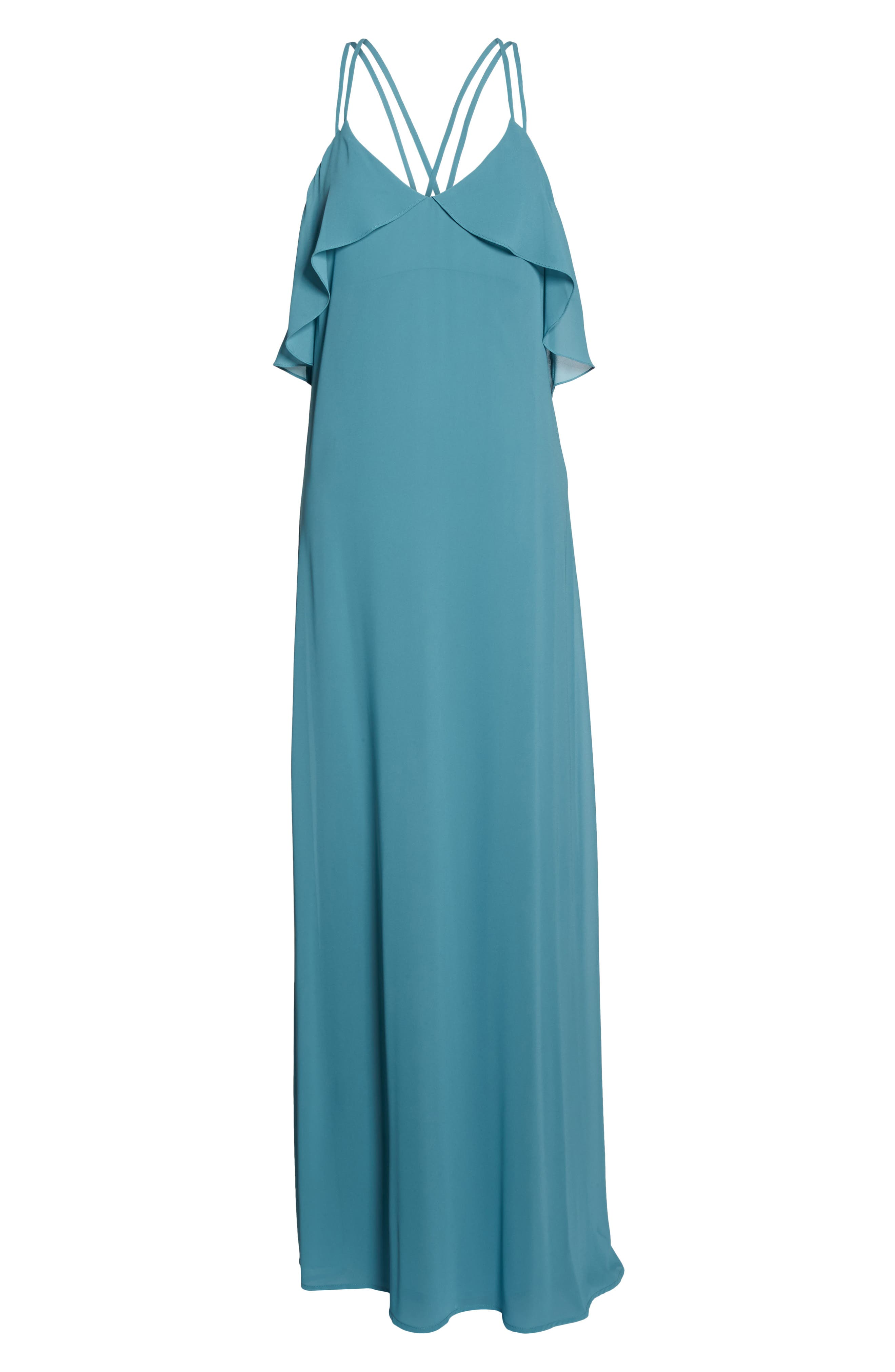 Avery Strappy Ruffle V-Neck Gown,                             Alternate thumbnail 6, color,                             Teal