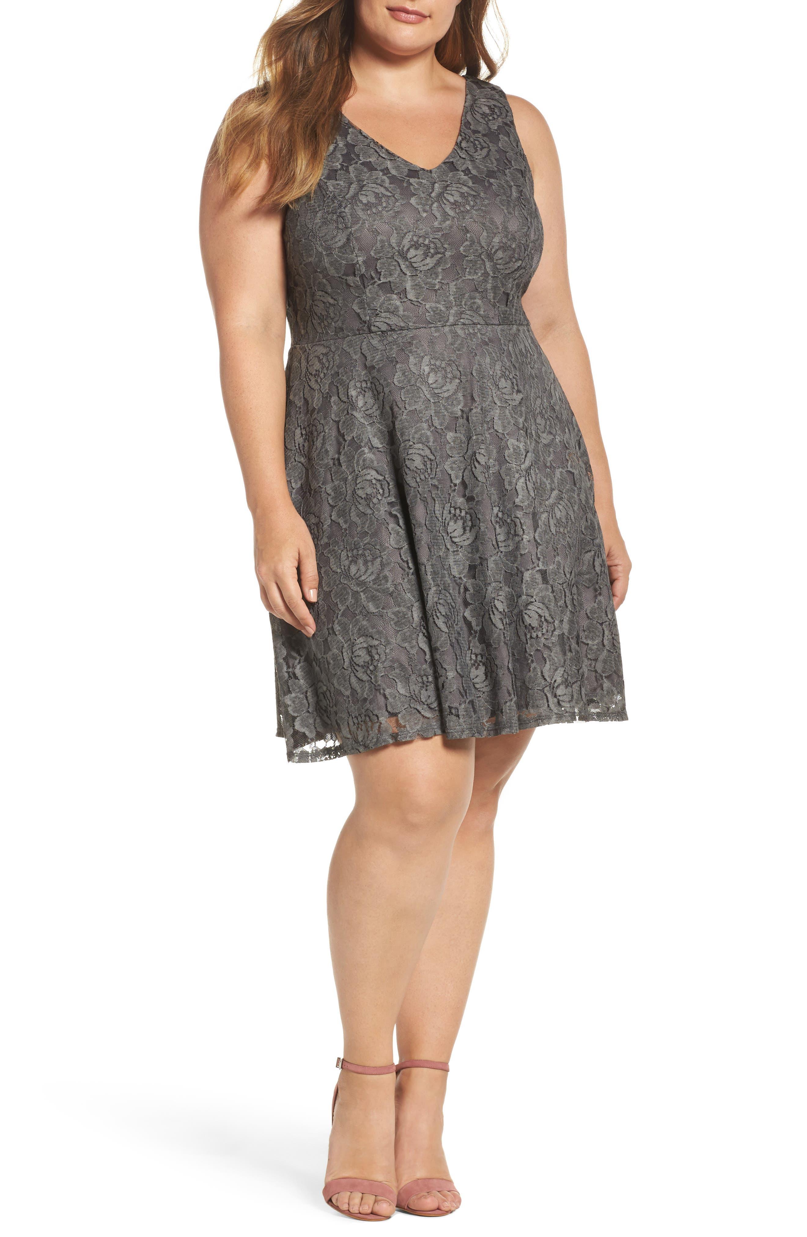 Lace Skater Dress,                             Main thumbnail 1, color,                             Charcoal