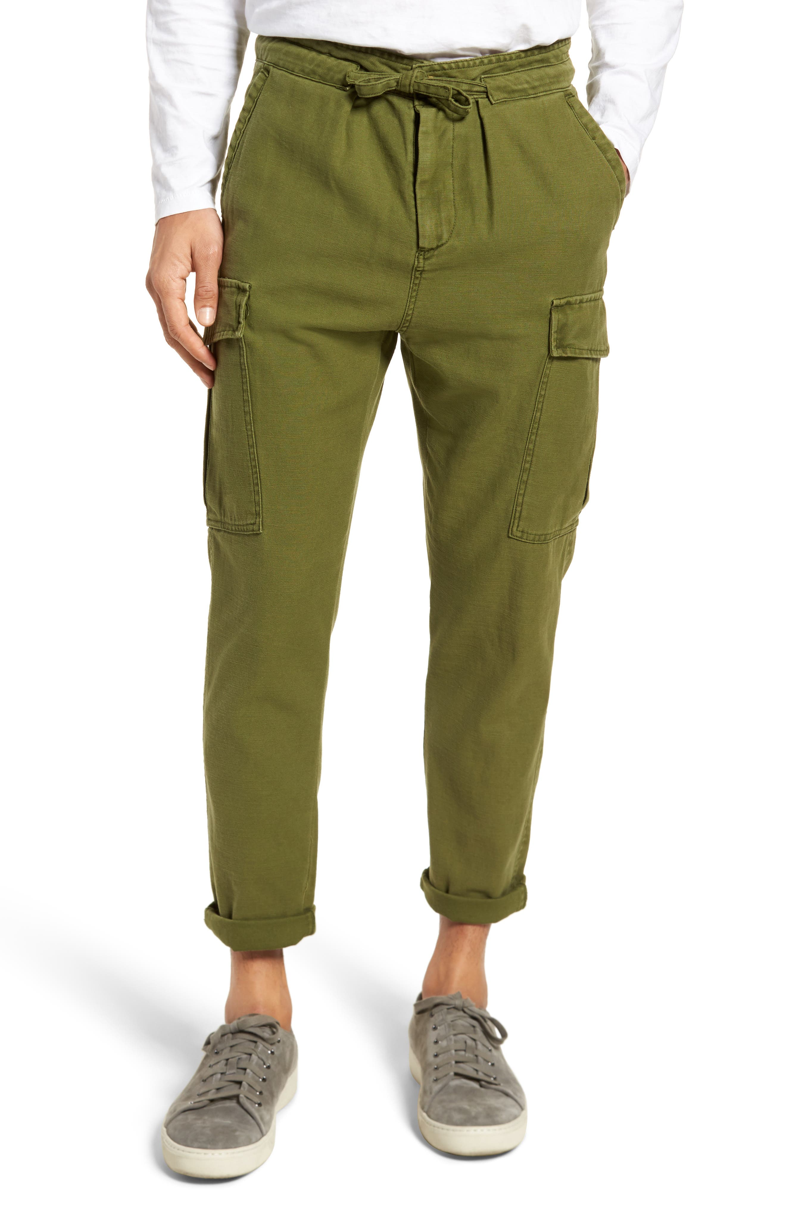 Canvas Cargo Pants,                         Main,                         color, Military