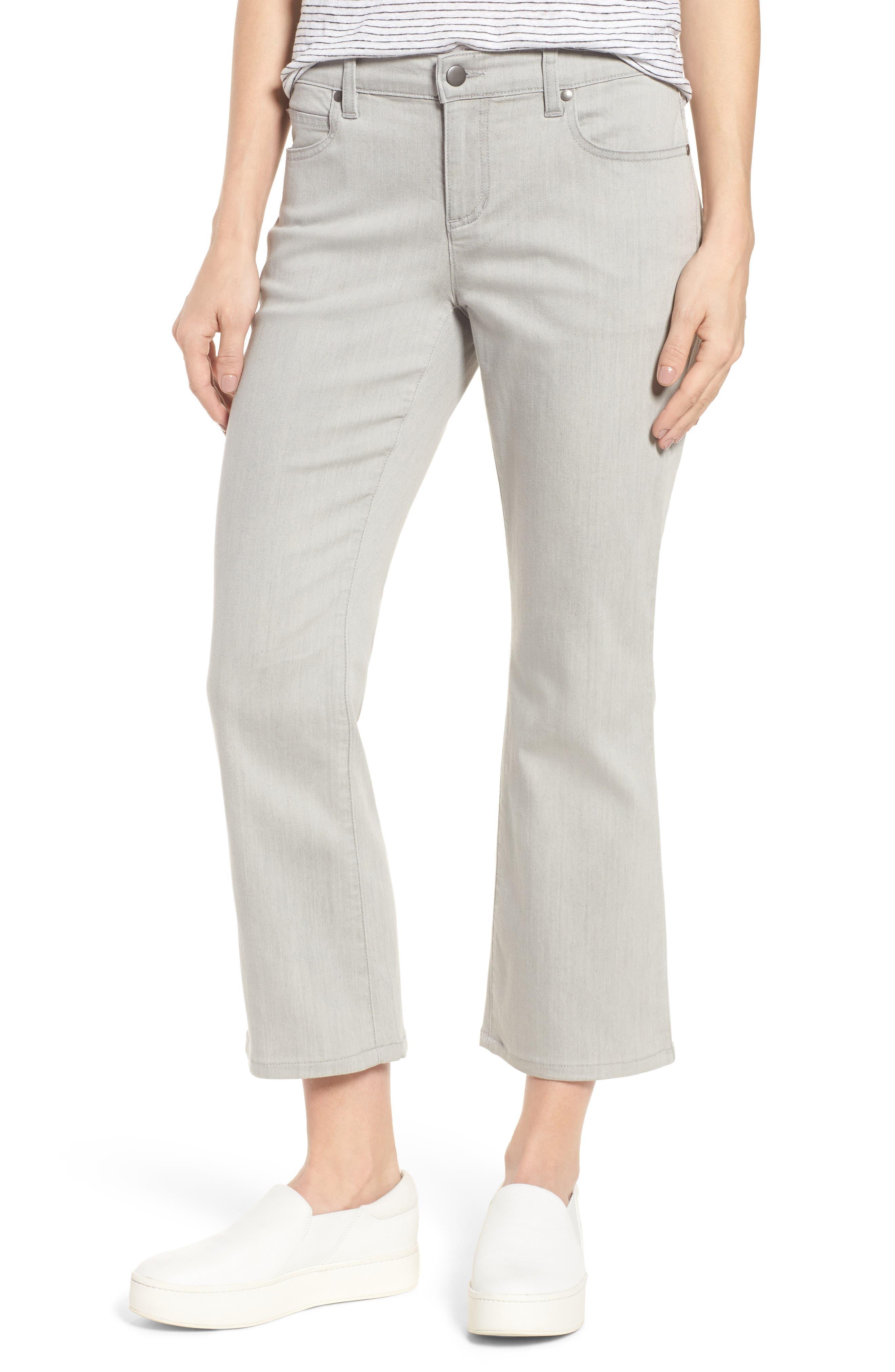 Organic Cotton Blend Crop Flare Jeans,                             Main thumbnail 1, color,                             Sun Bleached Gray