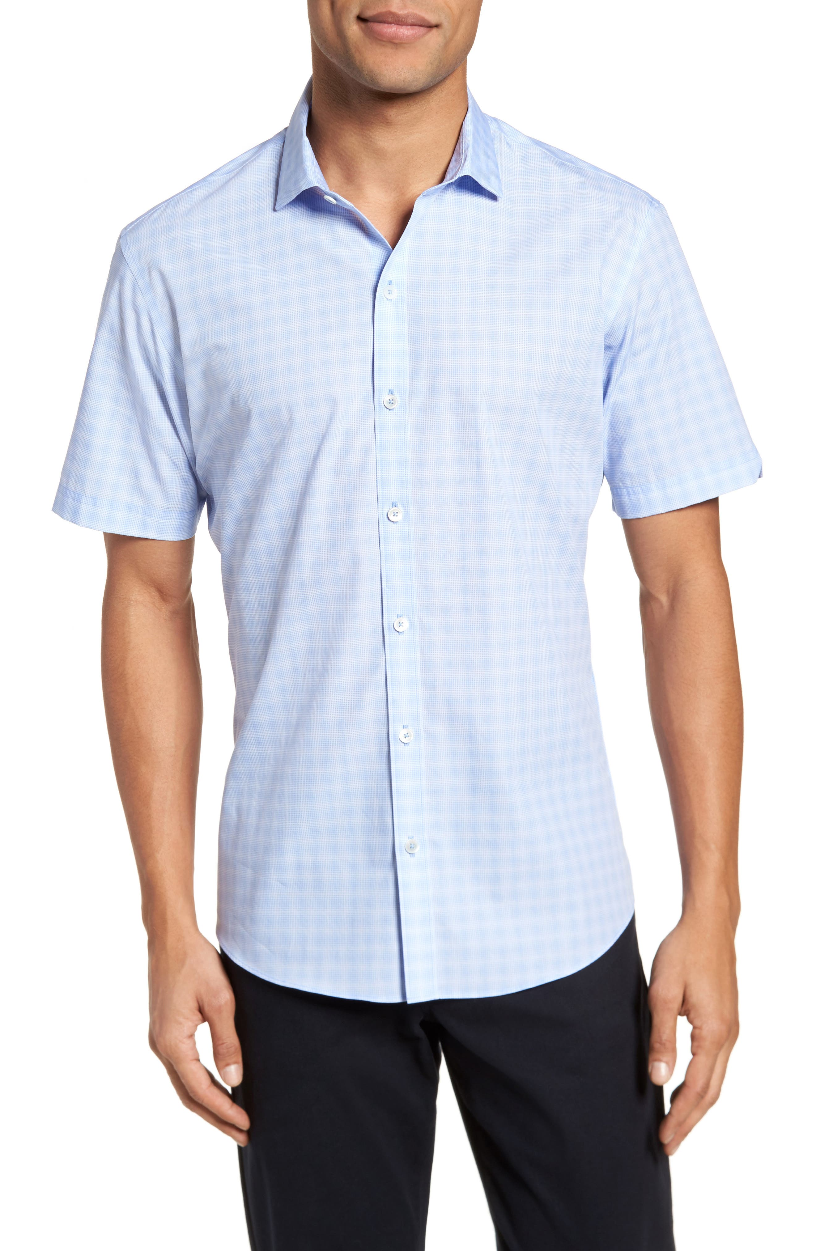 Cecil Check Print Sport Shirt,                         Main,                         color, Lt Blue