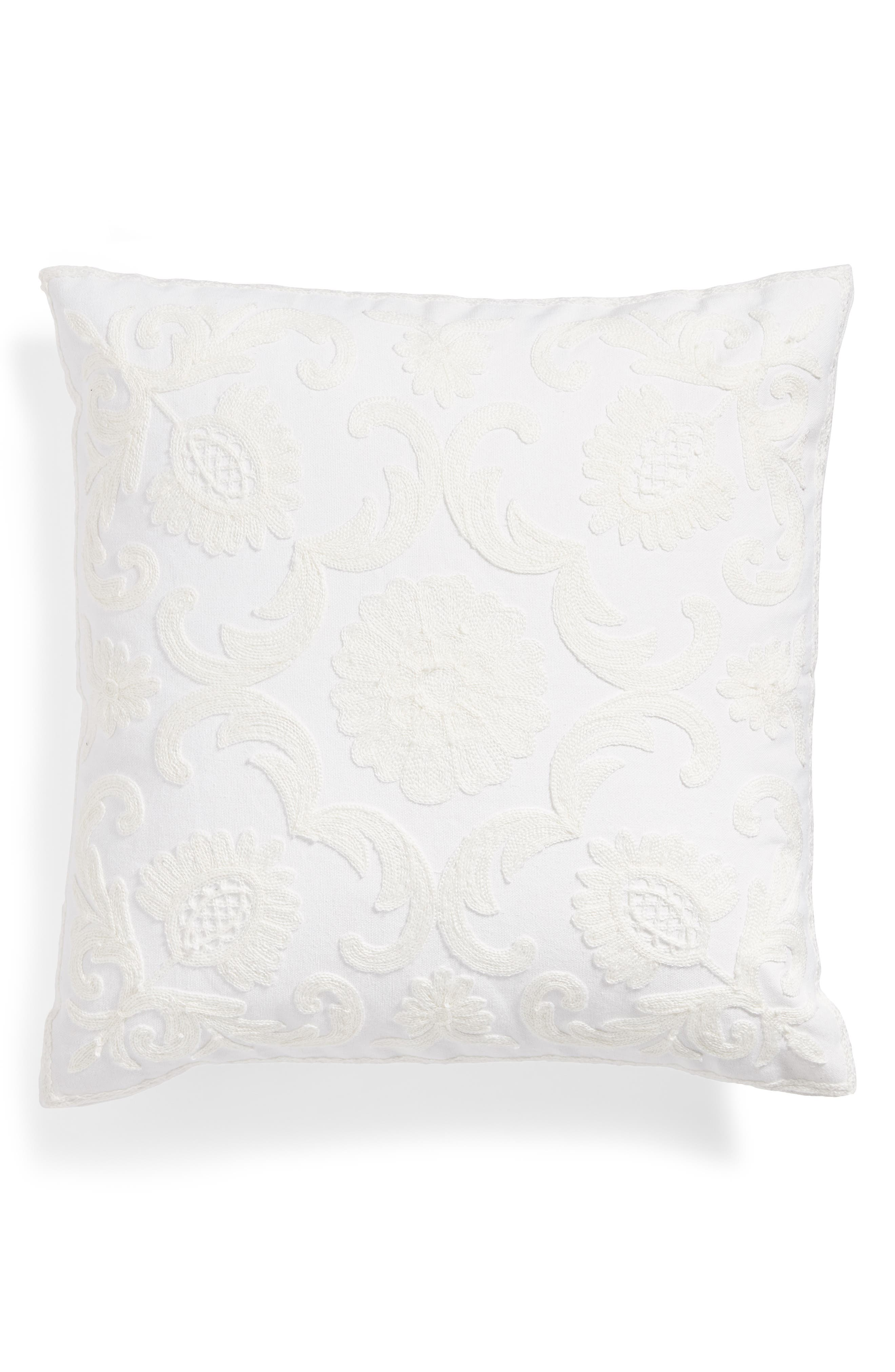 Bree Embroidered Accent Pillow,                         Main,                         color, White