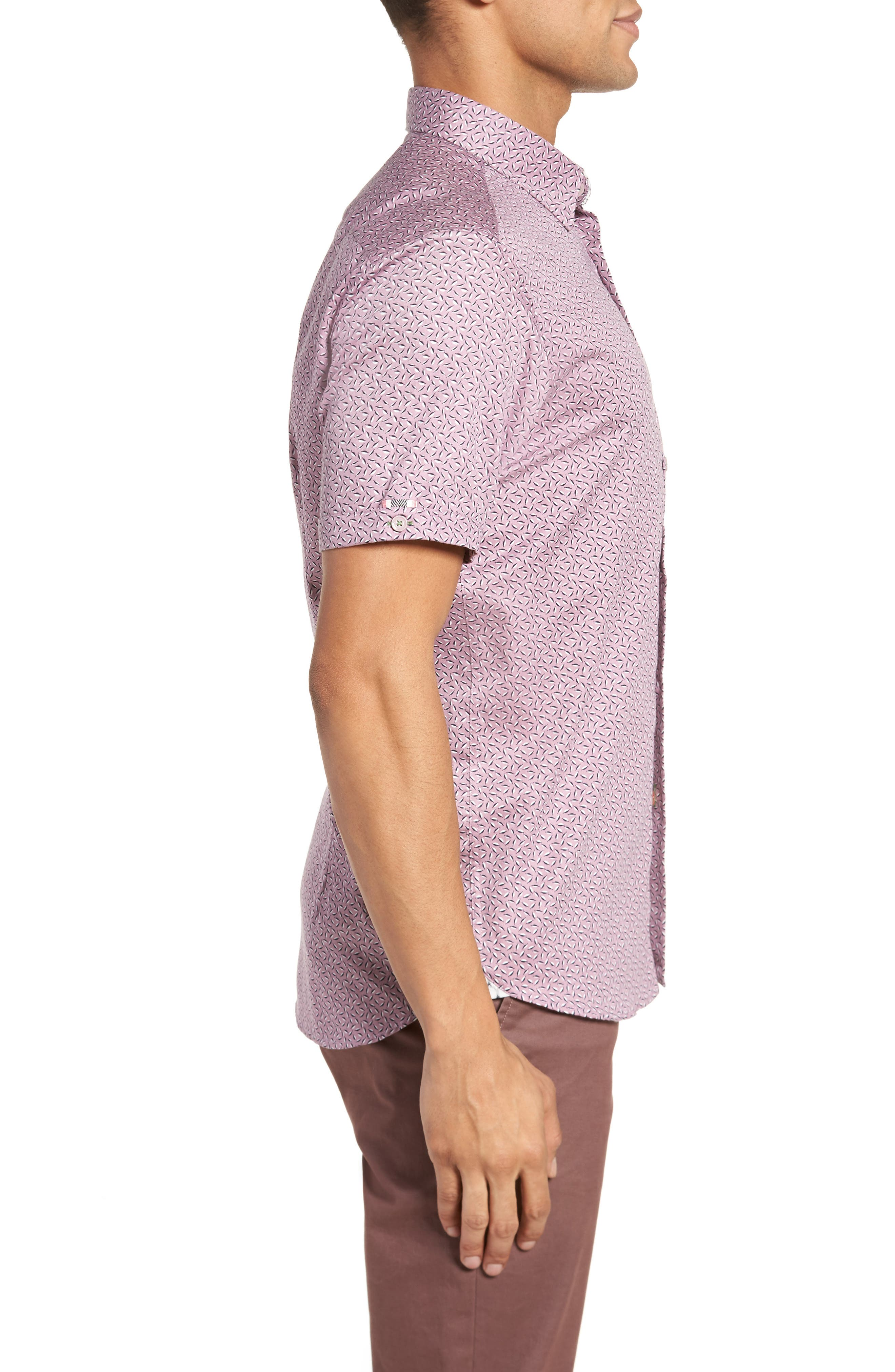 Narnar Trim Fit Geo Print Camp Shirt,                             Alternate thumbnail 4, color,                             Light Pink