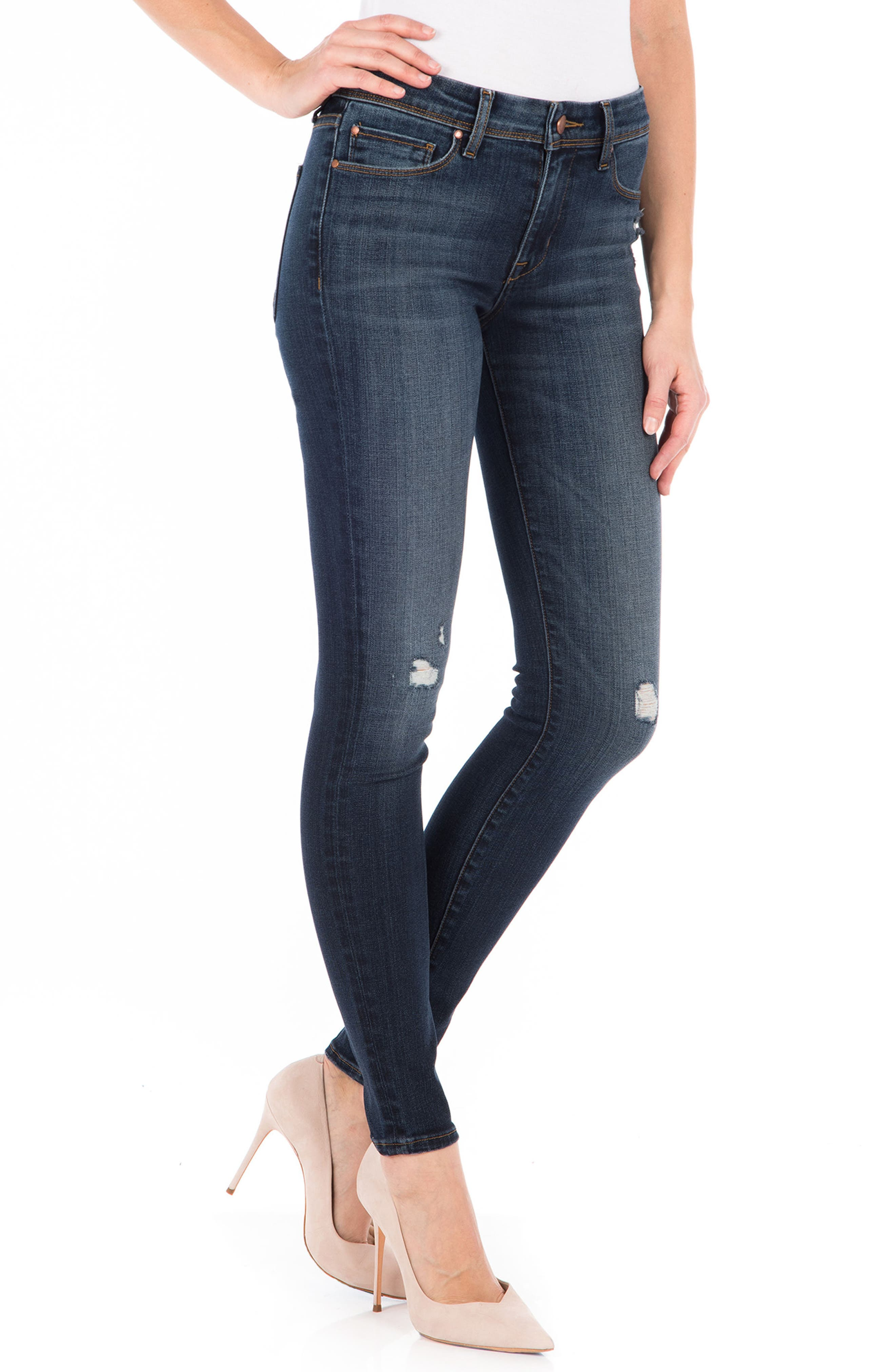 Belvedere Skinny Jeans,                             Alternate thumbnail 3, color,                             Refinery Blue
