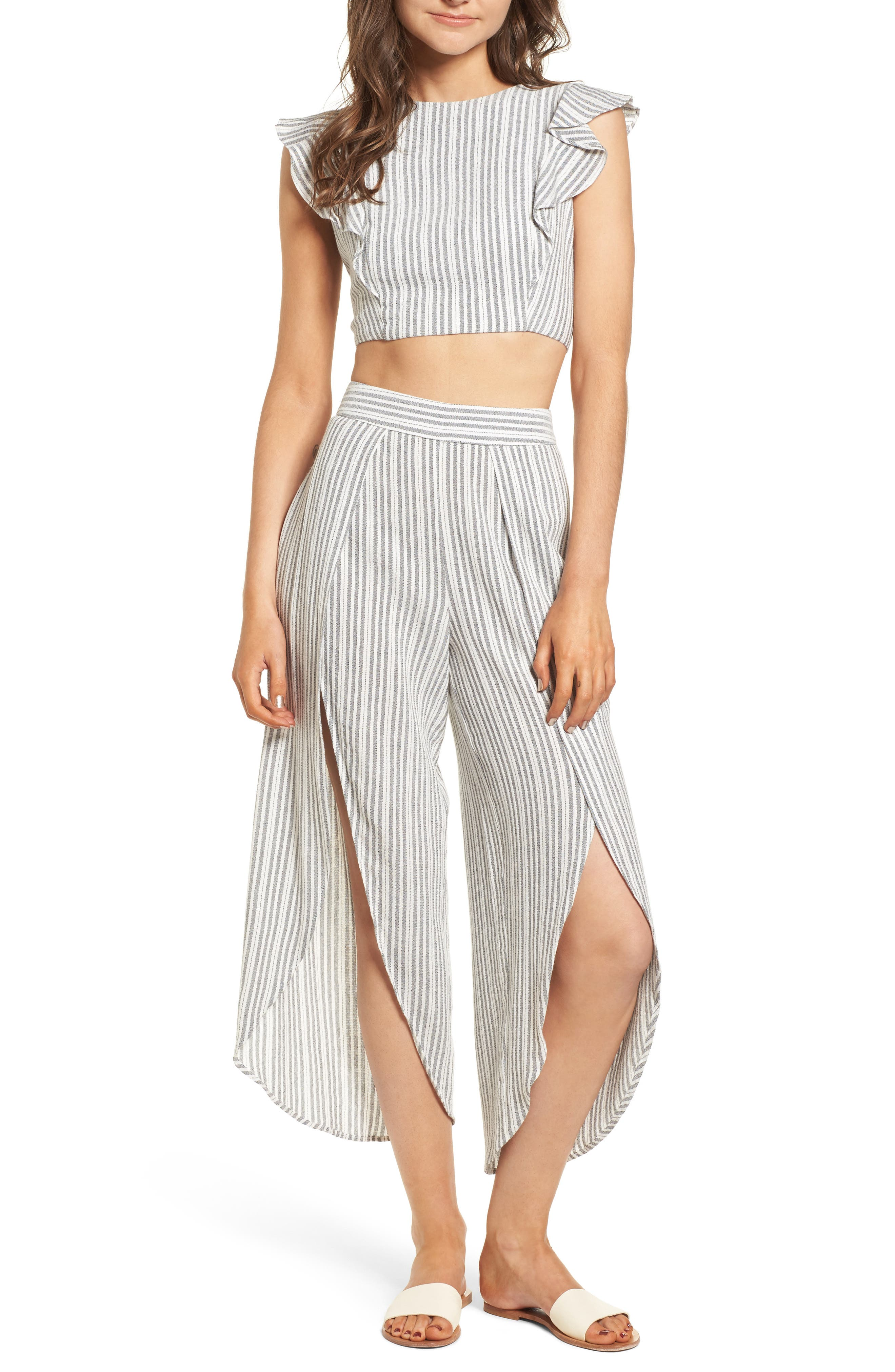 Vacay Flutter Sleeve Crop Top,                             Alternate thumbnail 3, color,                             Grey