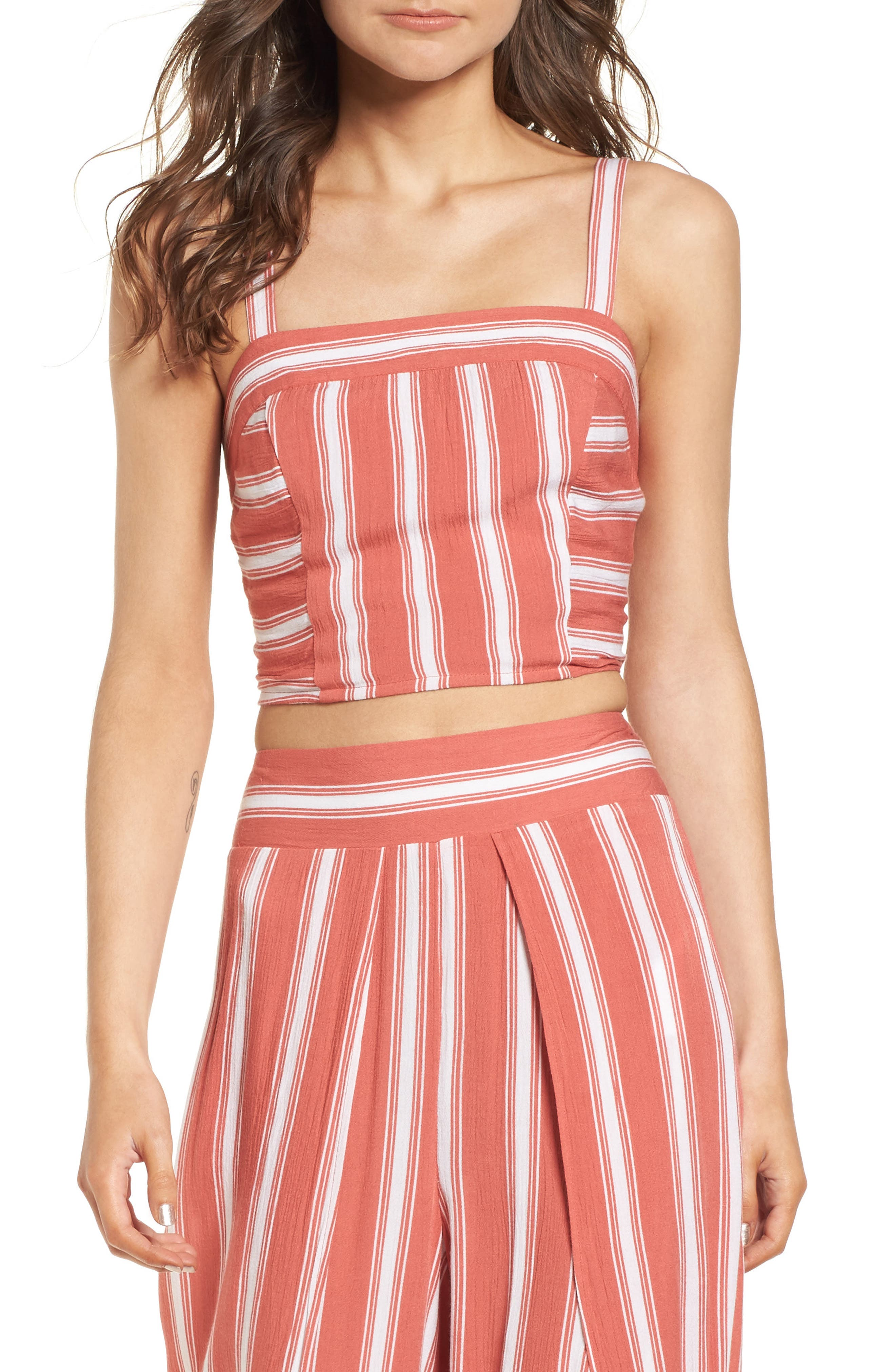 Stripe Smocked Crop Top,                             Main thumbnail 1, color,                             Dusty Coral/ Ivory