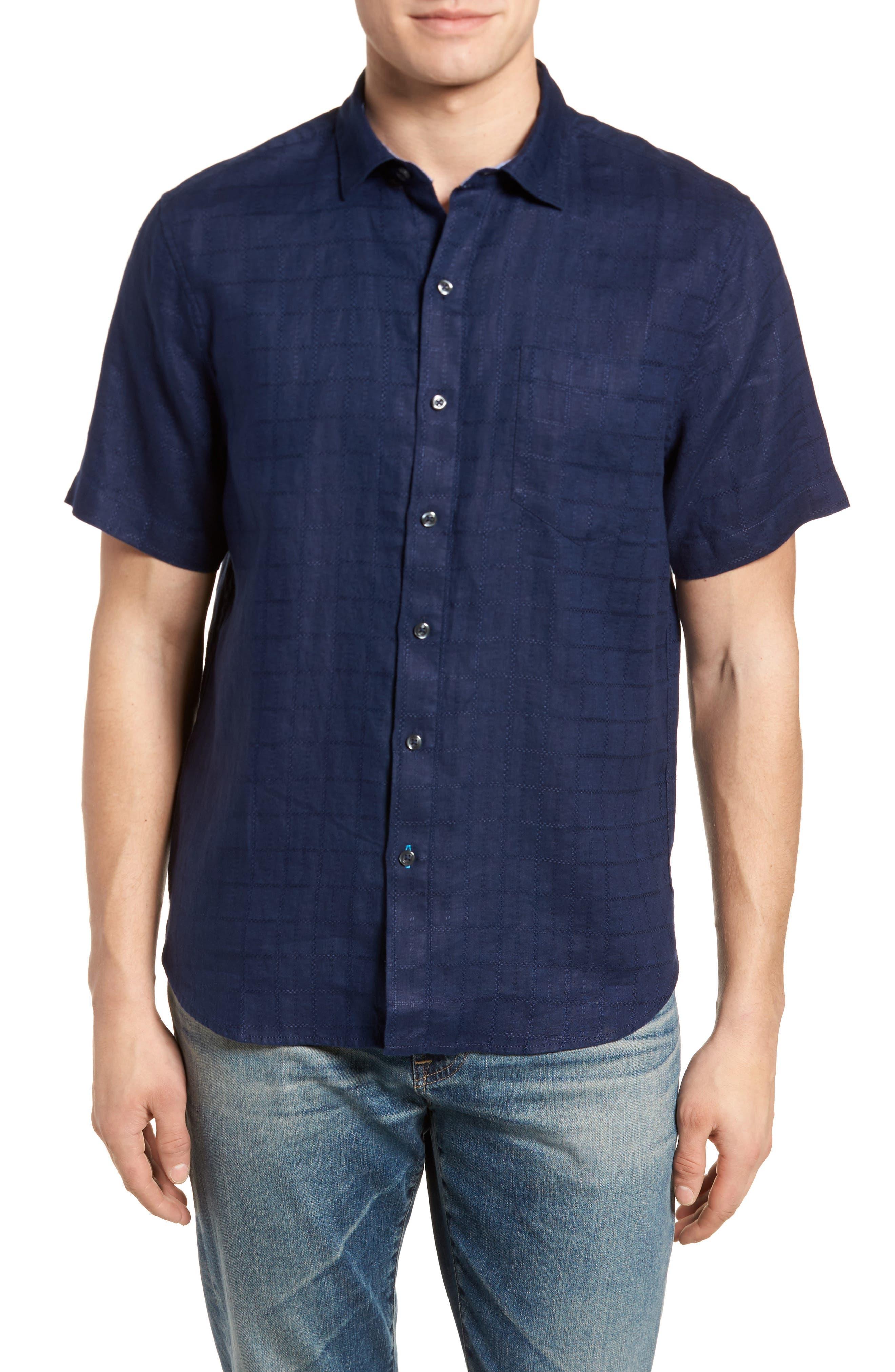 Costa Sera Linen Sport Shirt,                         Main,                         color, Throne Blue