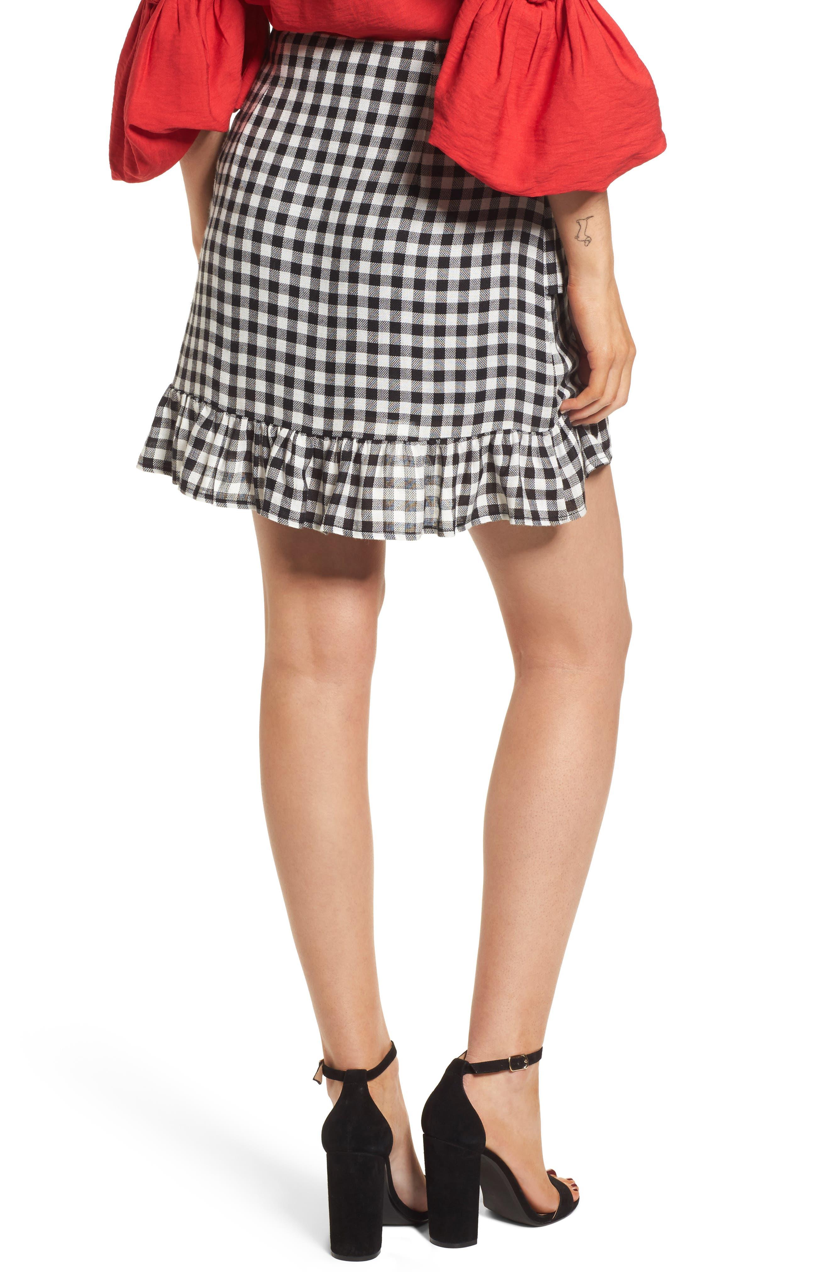 Day Trip Gingham Ruffle Skirt,                             Alternate thumbnail 3, color,                             Black