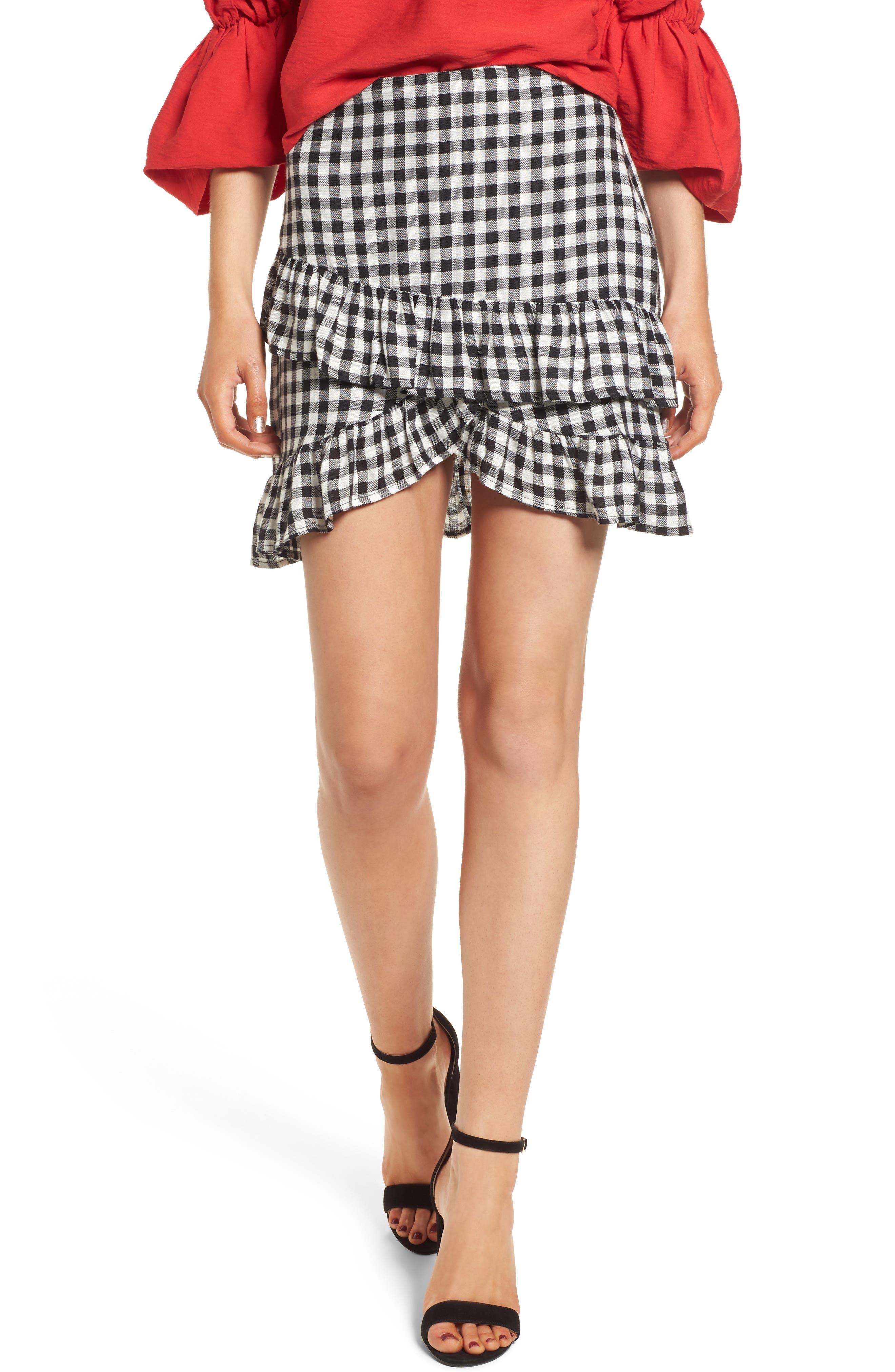 Day Trip Gingham Ruffle Skirt,                             Main thumbnail 1, color,                             Black