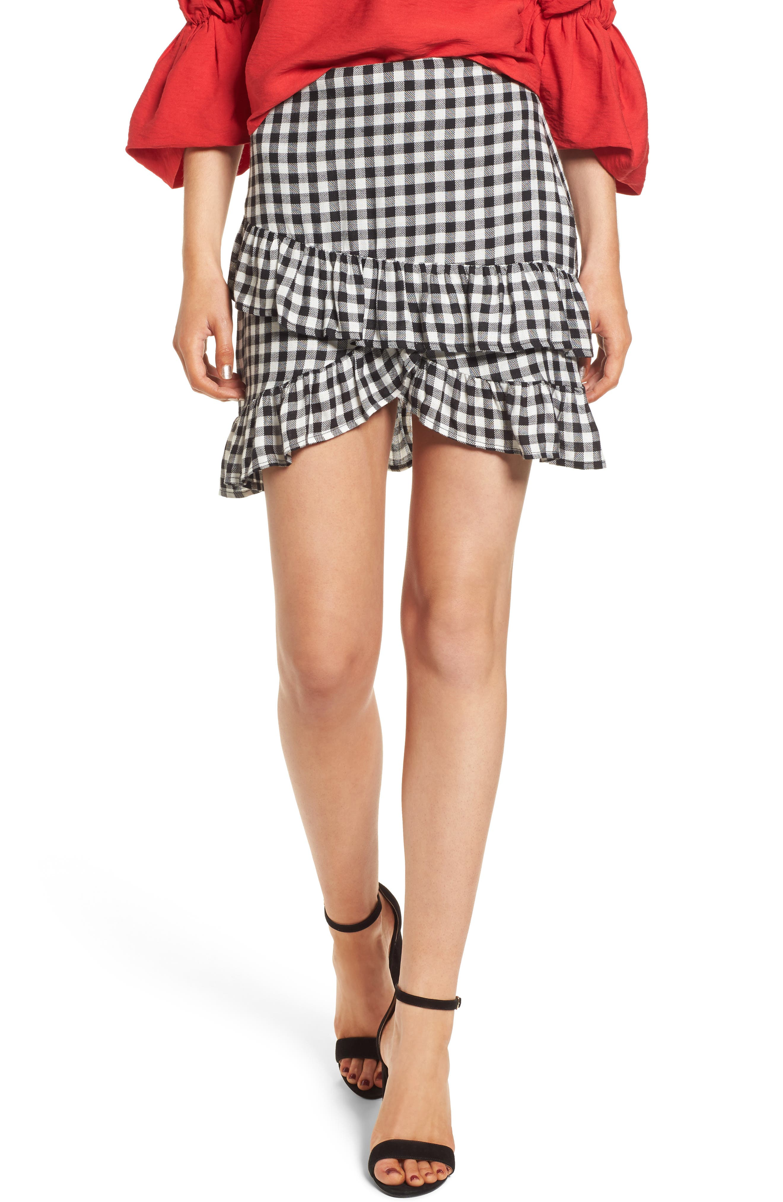 Day Trip Gingham Ruffle Skirt,                         Main,                         color, Black