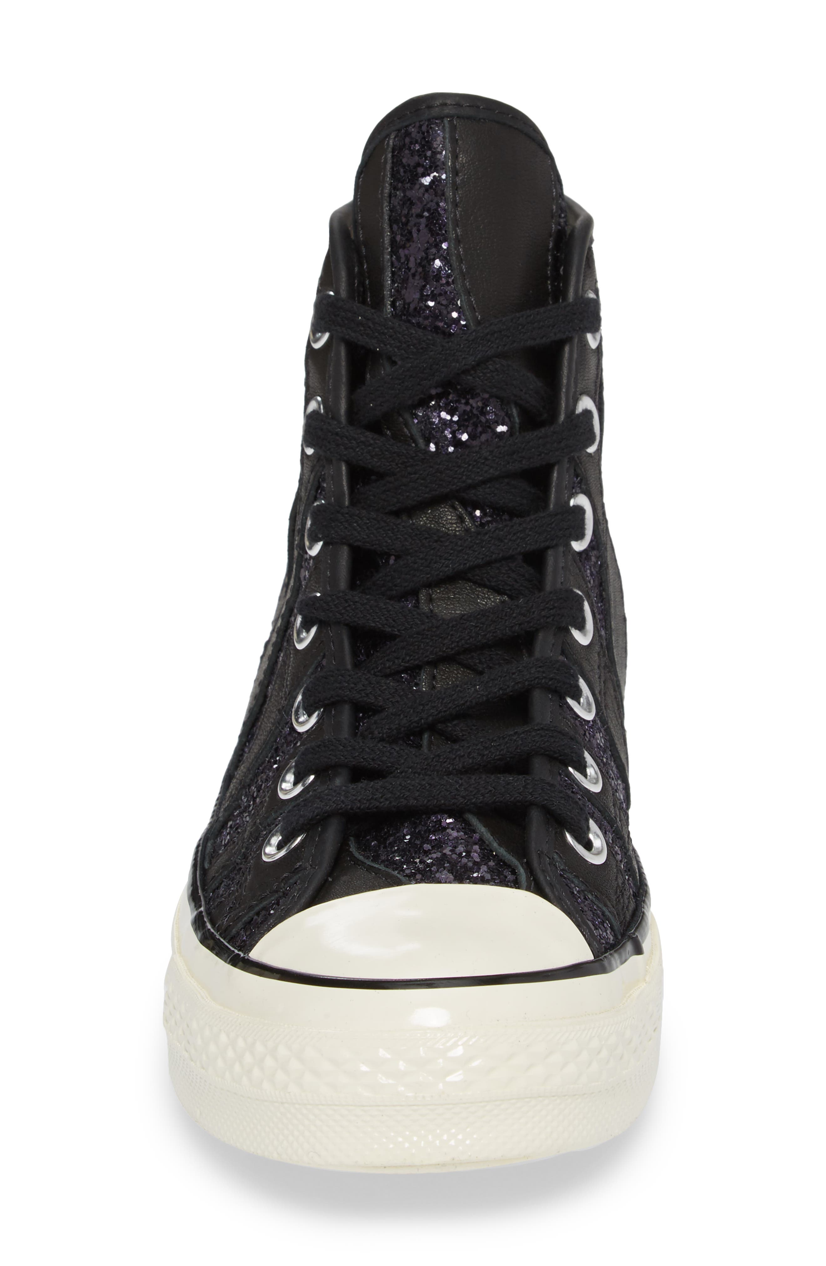 Chuck Taylor<sup>®</sup> All Star<sup>®</sup> 70 Animal Glitter High Top Sneaker,                             Alternate thumbnail 4, color,                             Black