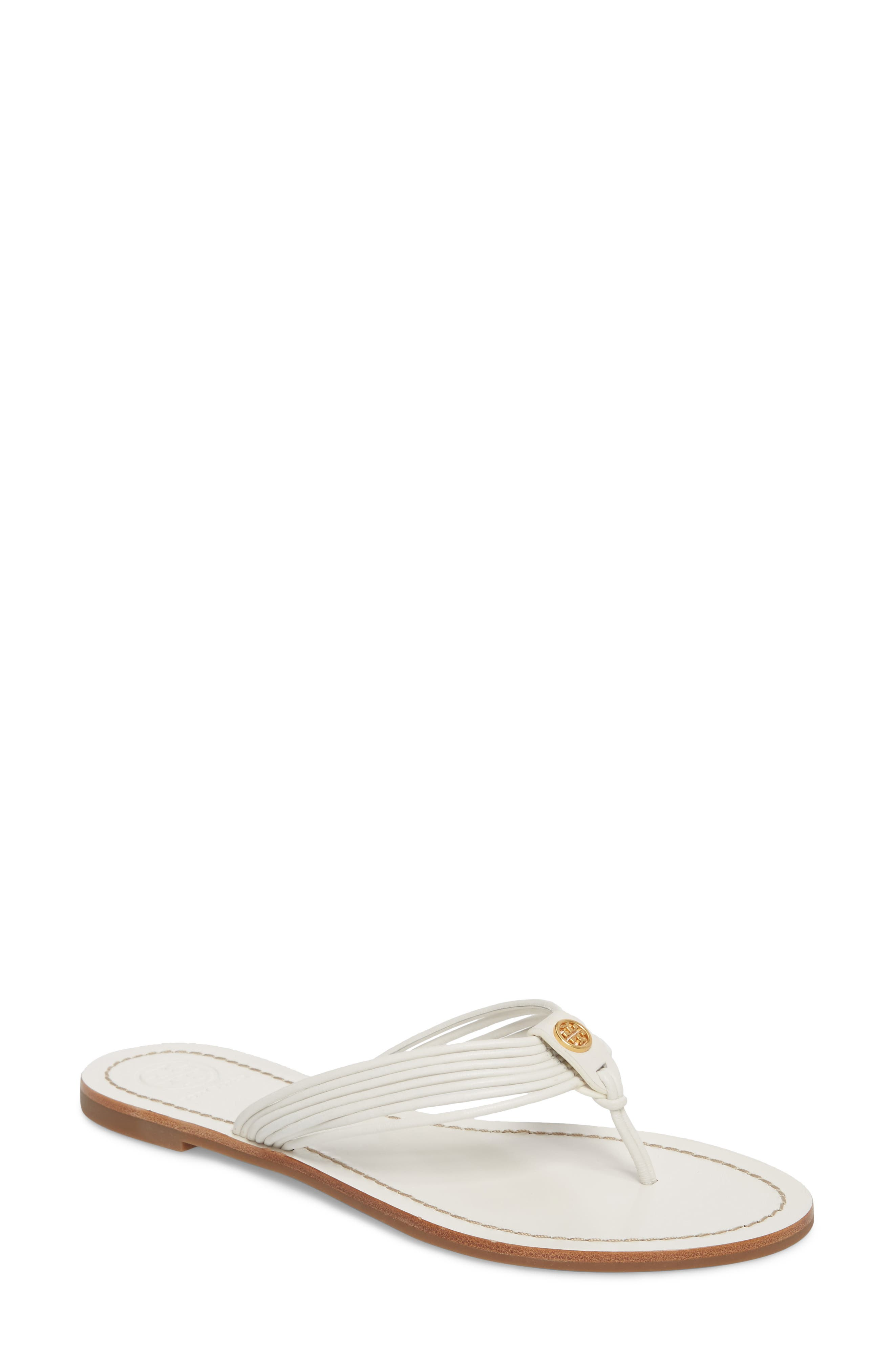 Sienna Strappy Thong Sandal,                             Main thumbnail 1, color,                             Perfect White/ Perfect White