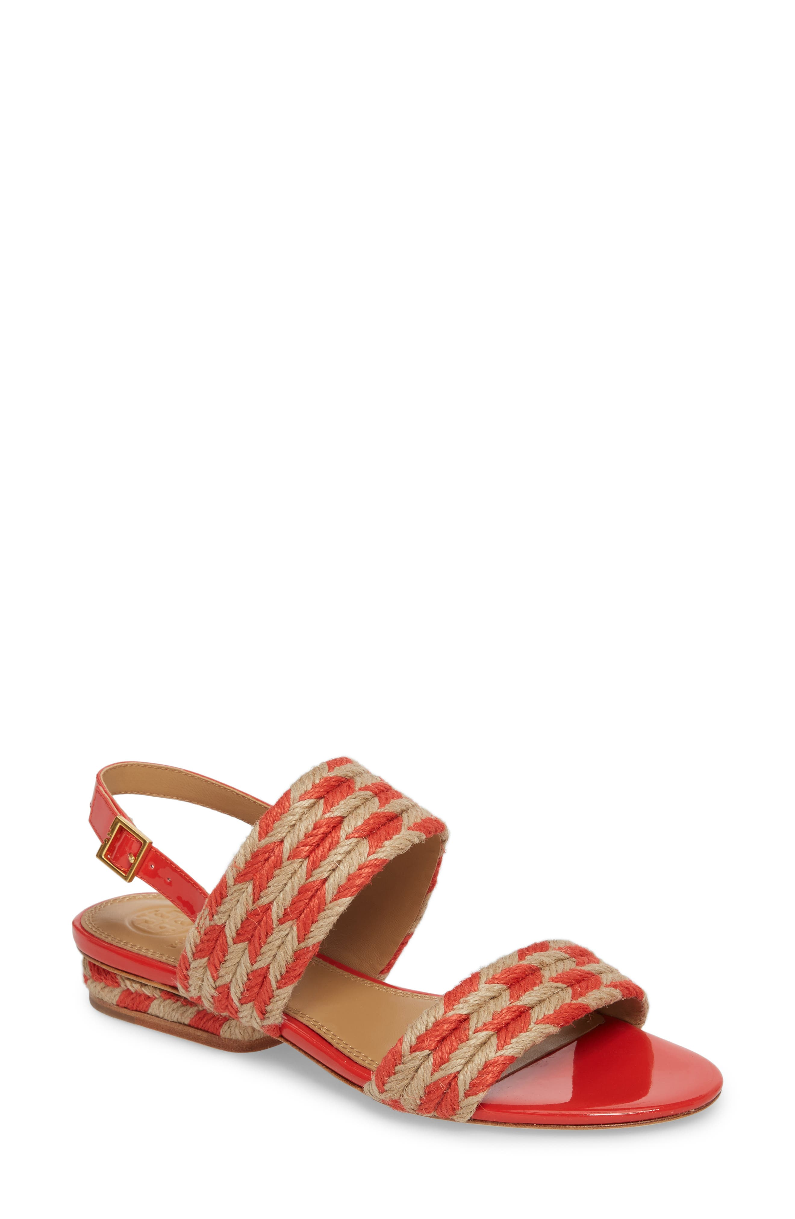 Lola Slingback Sandal,                             Main thumbnail 1, color,                             Poppy Orange/ Perfect Ivory