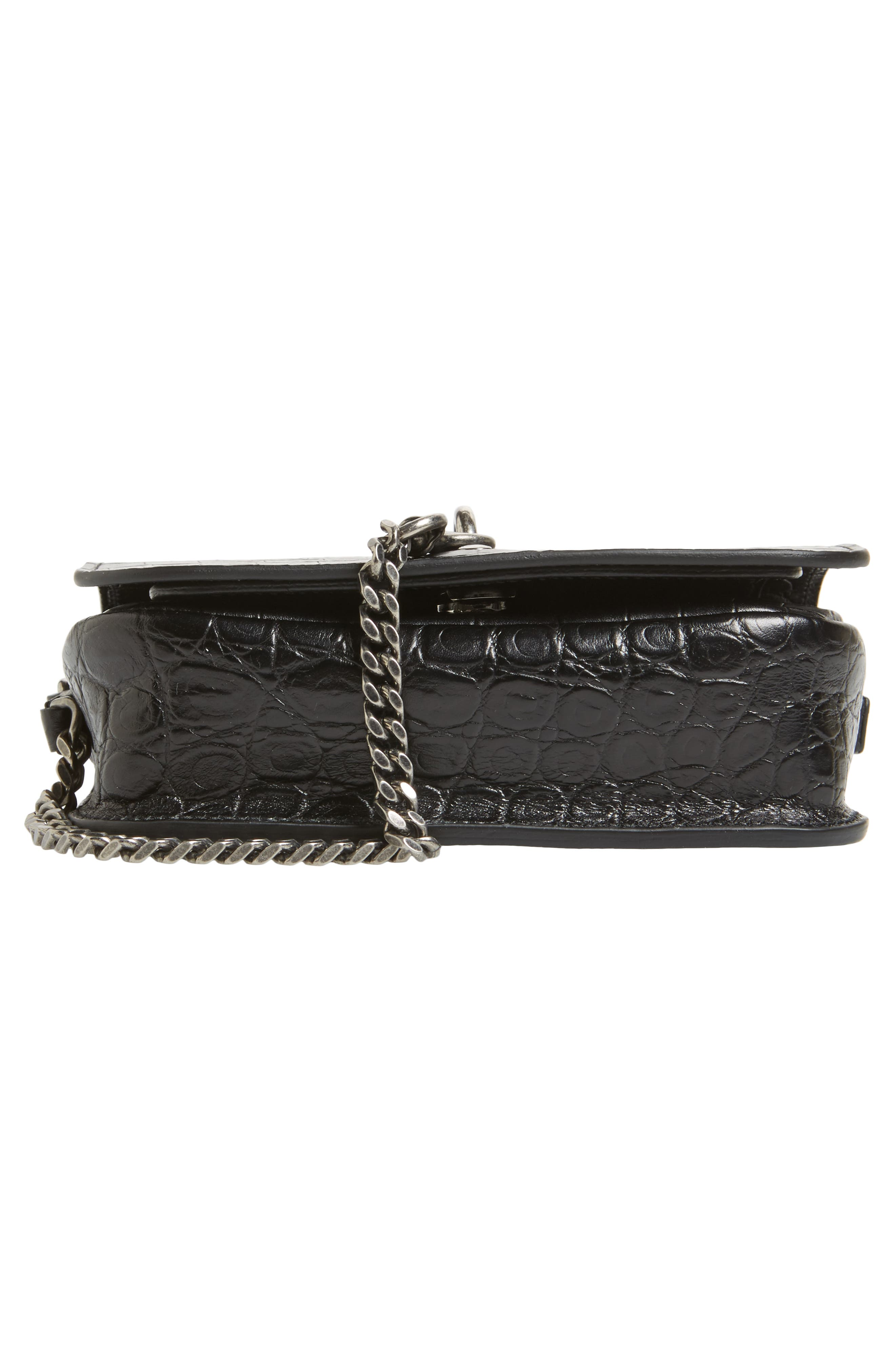 Croc Embossed Leather Crossbody Bag,                             Alternate thumbnail 6, color,                             Noir