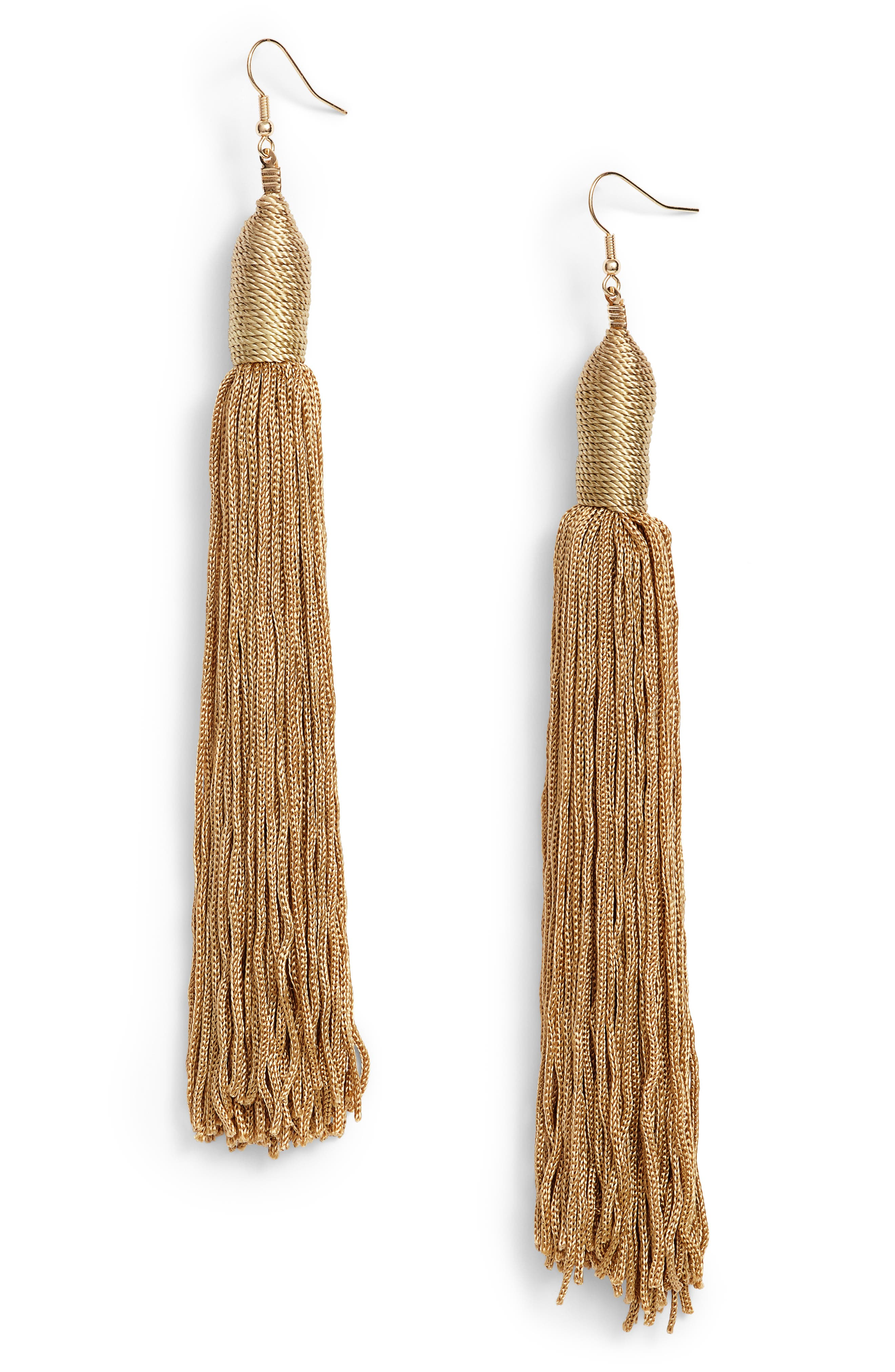 Fabric Tassel Shoulder Duster Earrings,                         Main,                         color, Gold