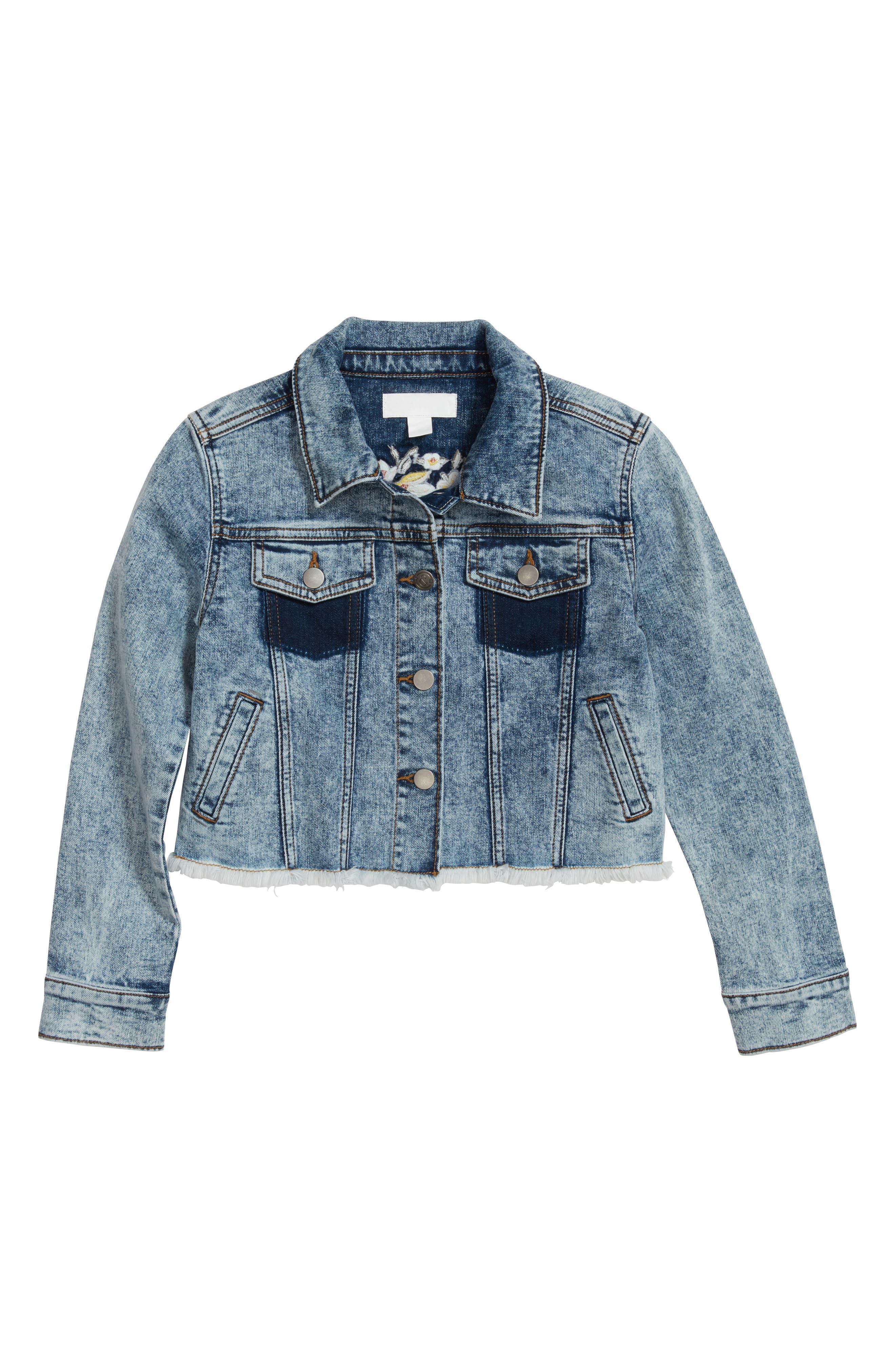 Main Image - Treasure & Bond Embroidered Crop Denim Jacket (Big Girls)