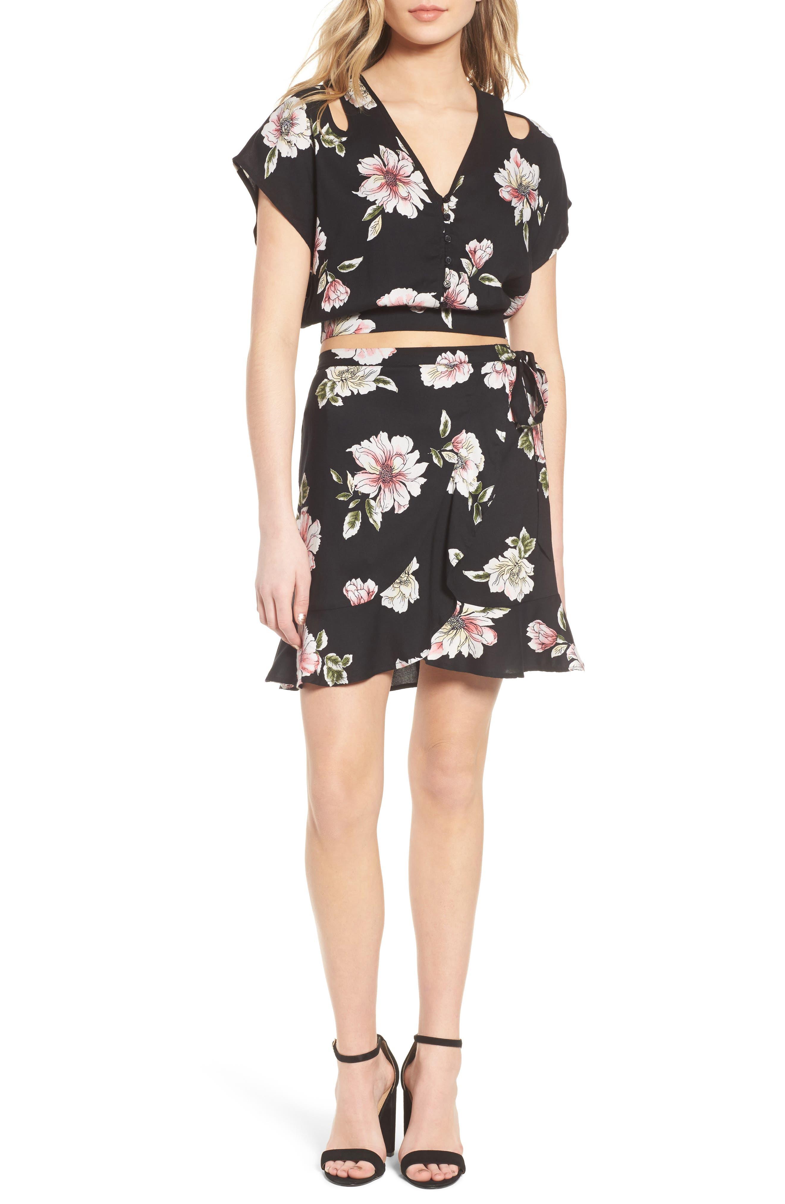 Hibiscus Faux Wrap Mini Skirt,                             Alternate thumbnail 2, color,                             Black/ Dusty Coral
