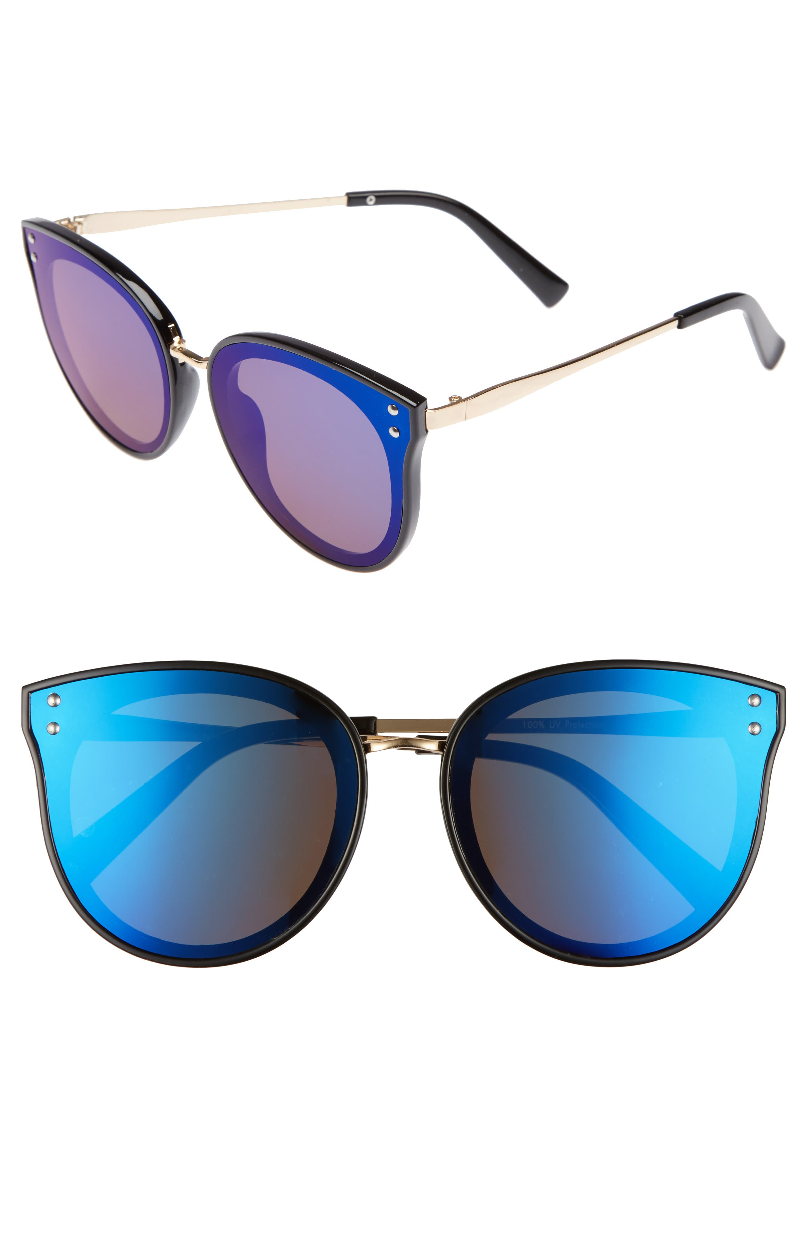 51mm Round Sunglasses,                         Main,                         color, Black/ Blue